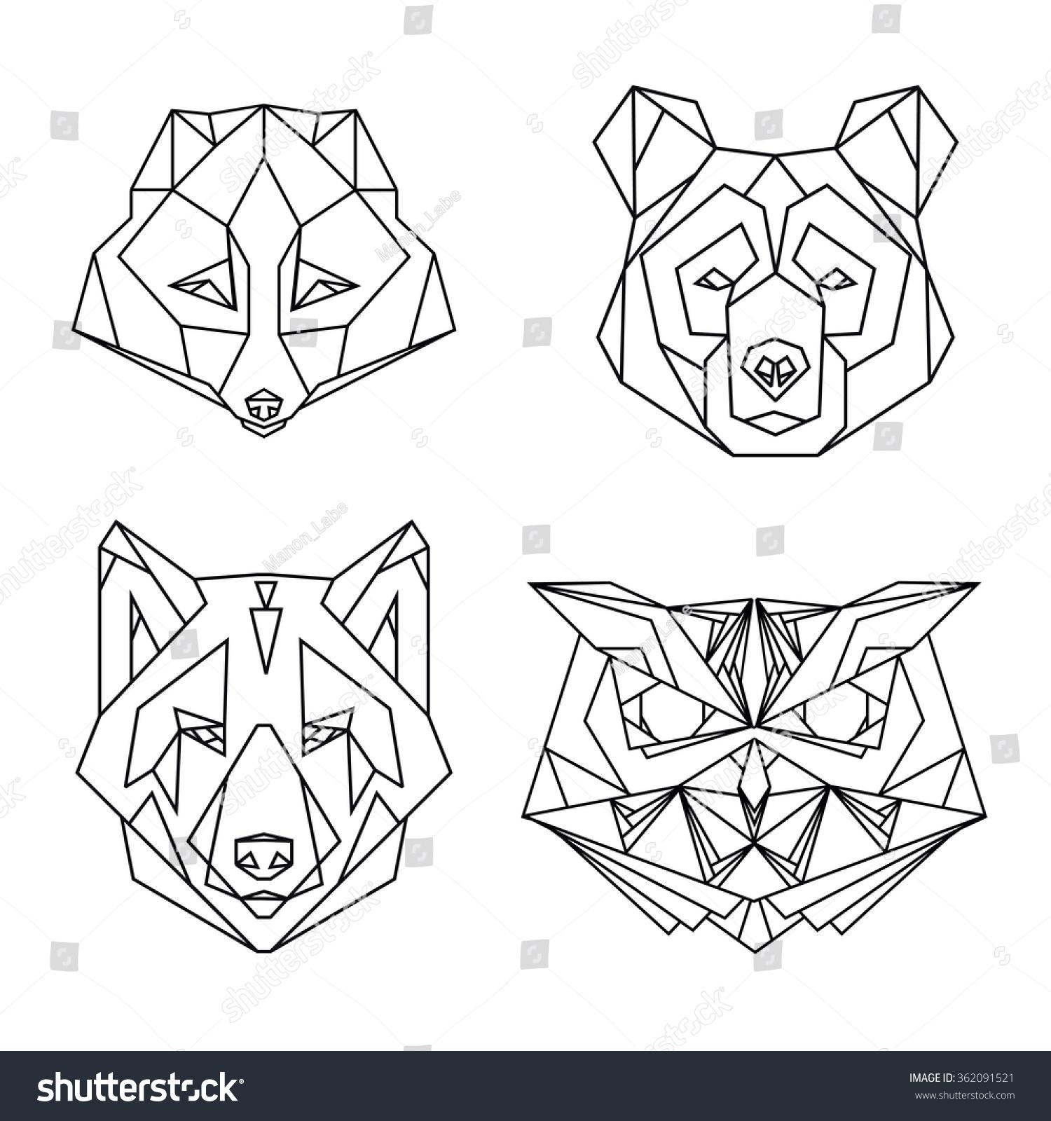 Geometric Set Four Vector Animal Heads Stock Vector