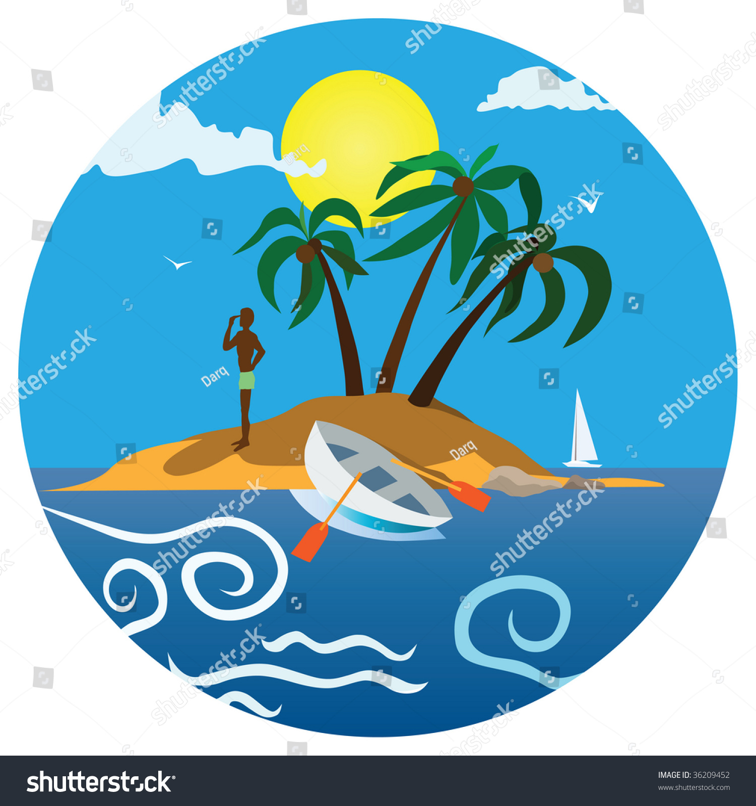 Holiday Icon Color Illustration Sandy Island Stock Vector 36209452 ...