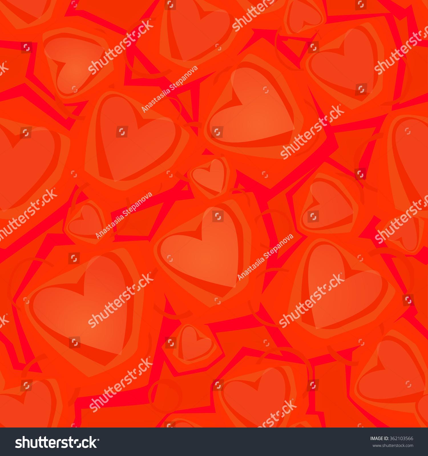 Vector Seamless Pattern Shimmering Hearts Bright Stock Vector ...