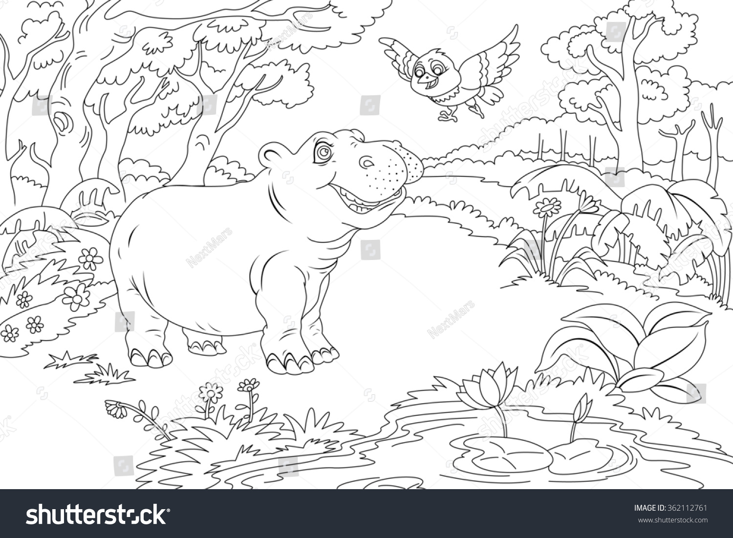 Coloring Pages Adults Birds : Line art coloring book illustration children stock illustration