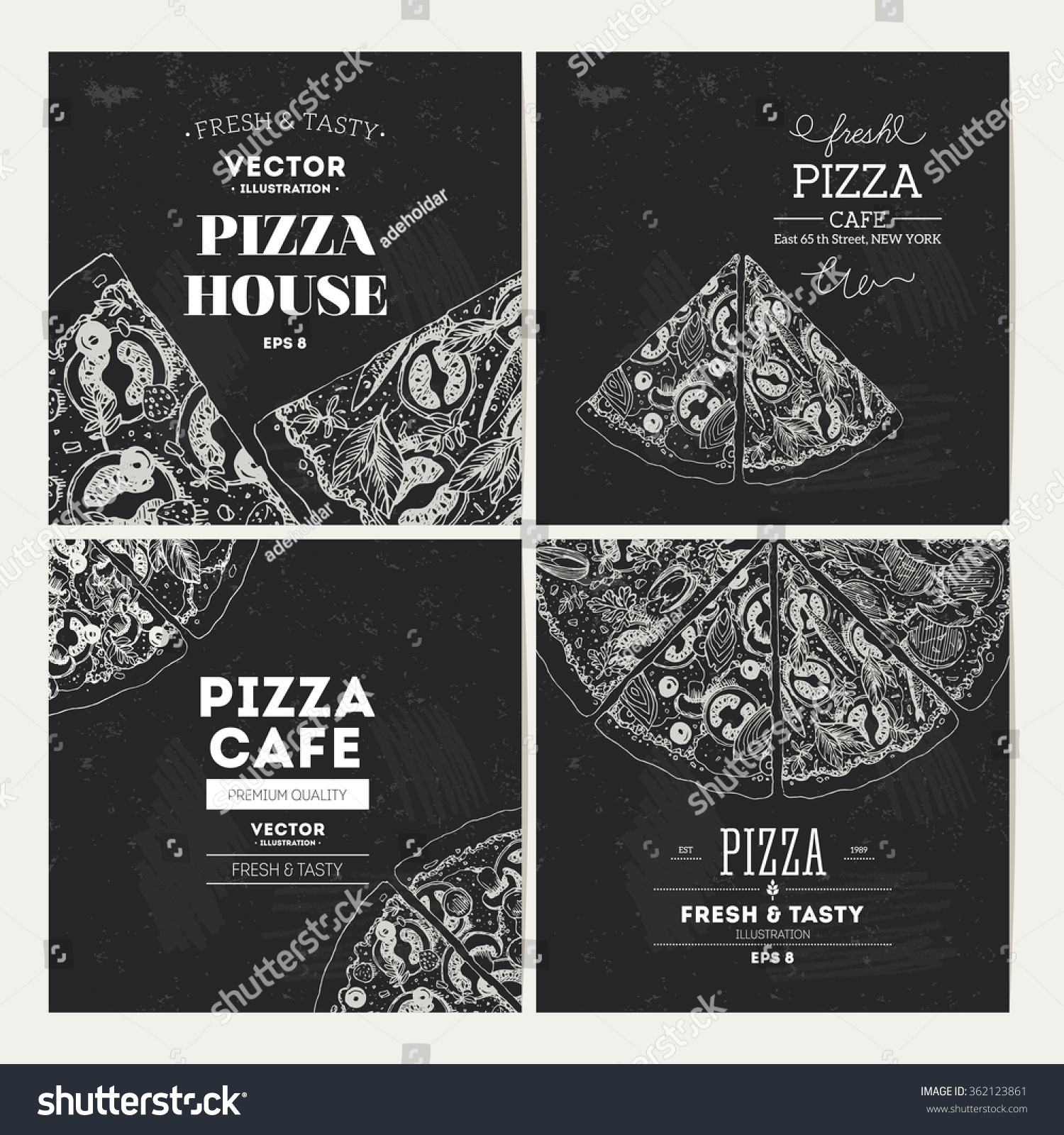 Pizza Banner Chalkboard Design Template Collection Vector Illustration