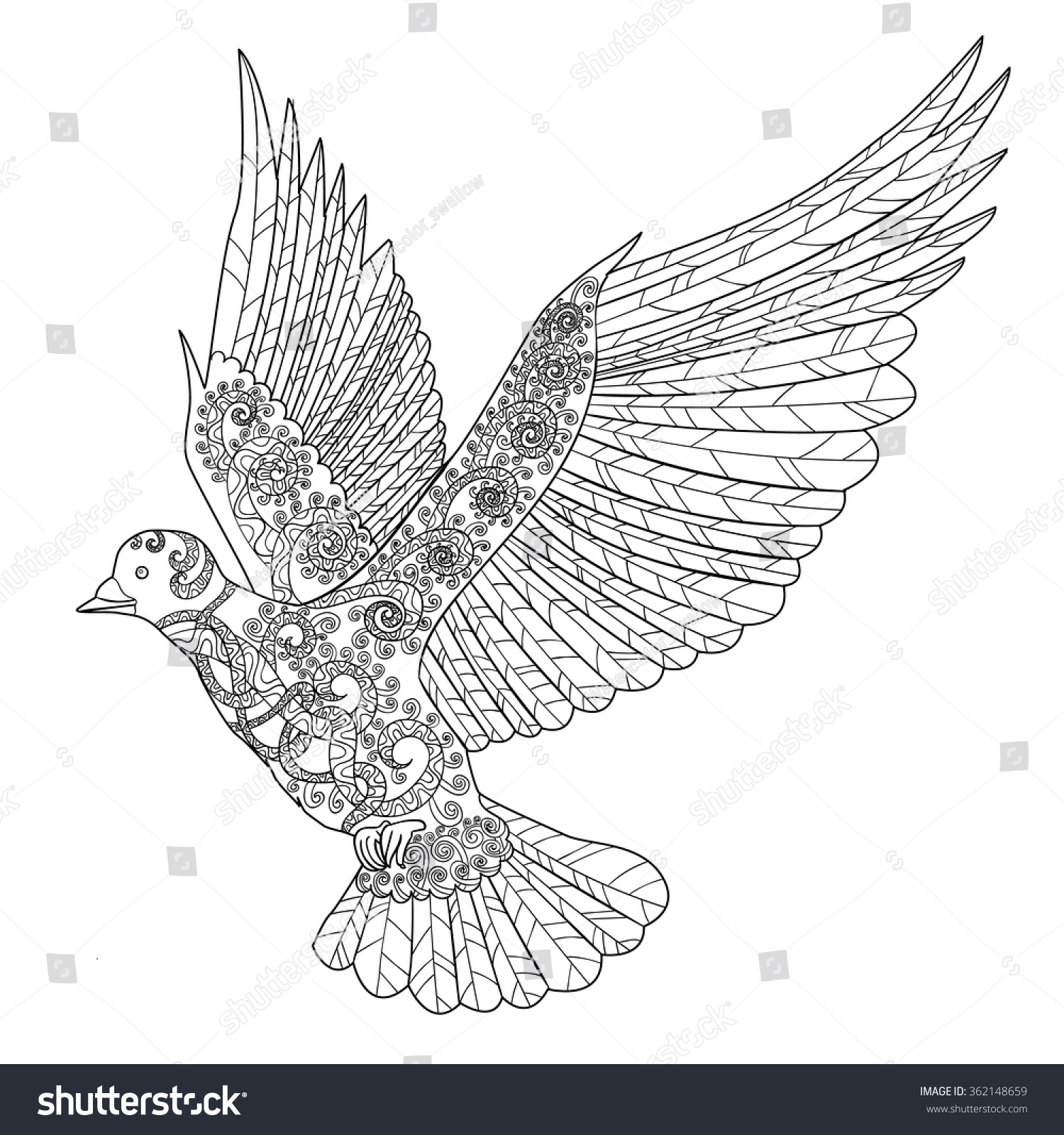 flying dove high details antistress stock vector 362148659