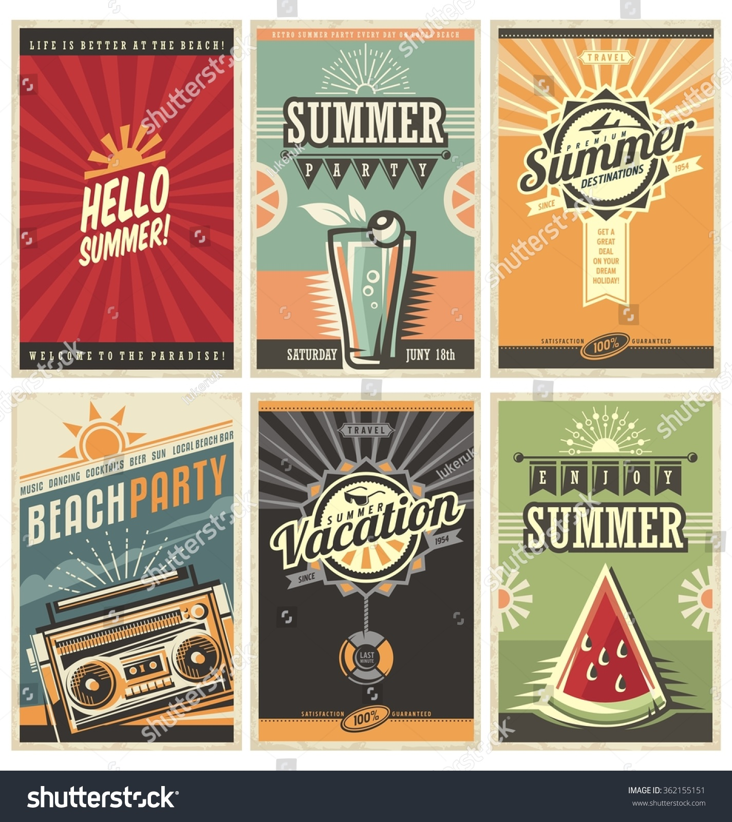 Set Of Retro Summer Holiday Posters Travel And Vacation Vintage Signs Collection Sun Summer