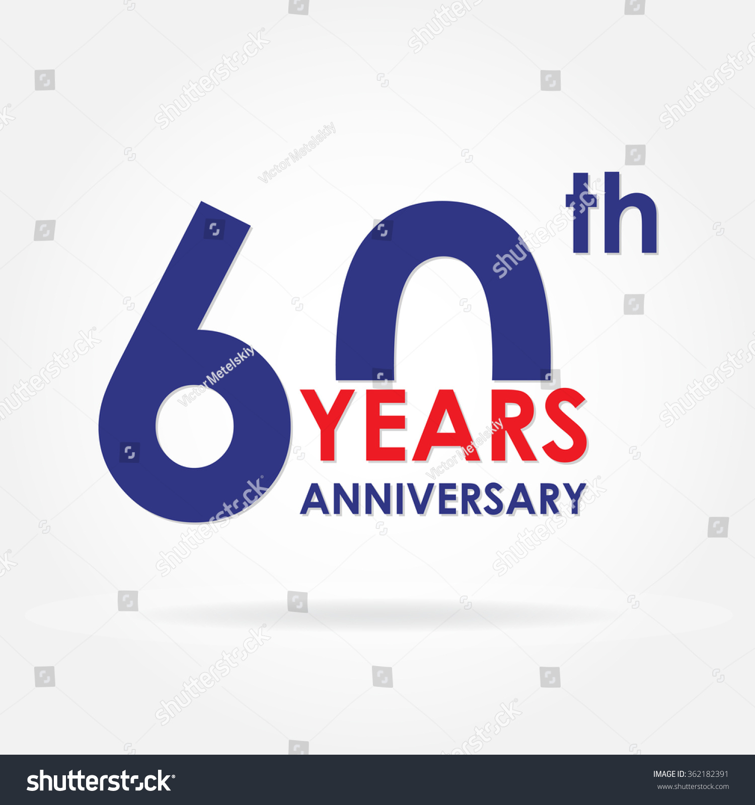 60 Years Anniversary Sign Label Template Stock Illustration