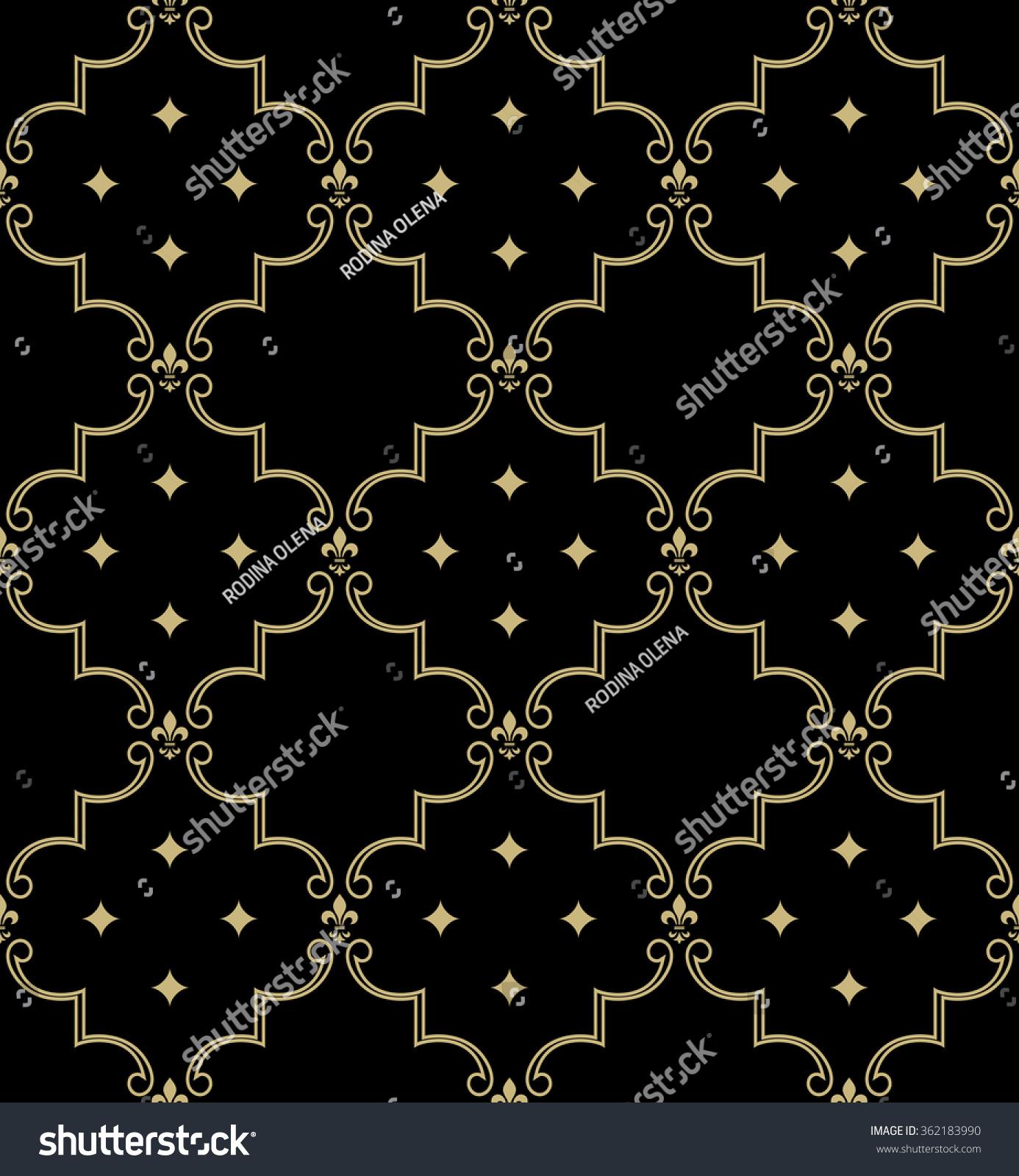 Damask Seamless Pattern Royal Wallpaper Black And Gold