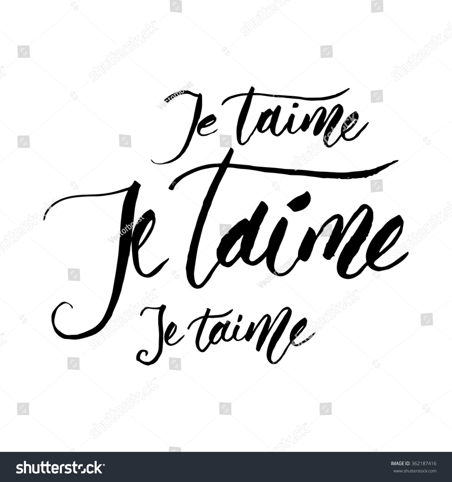 Je taime love you french handlettered stock vector