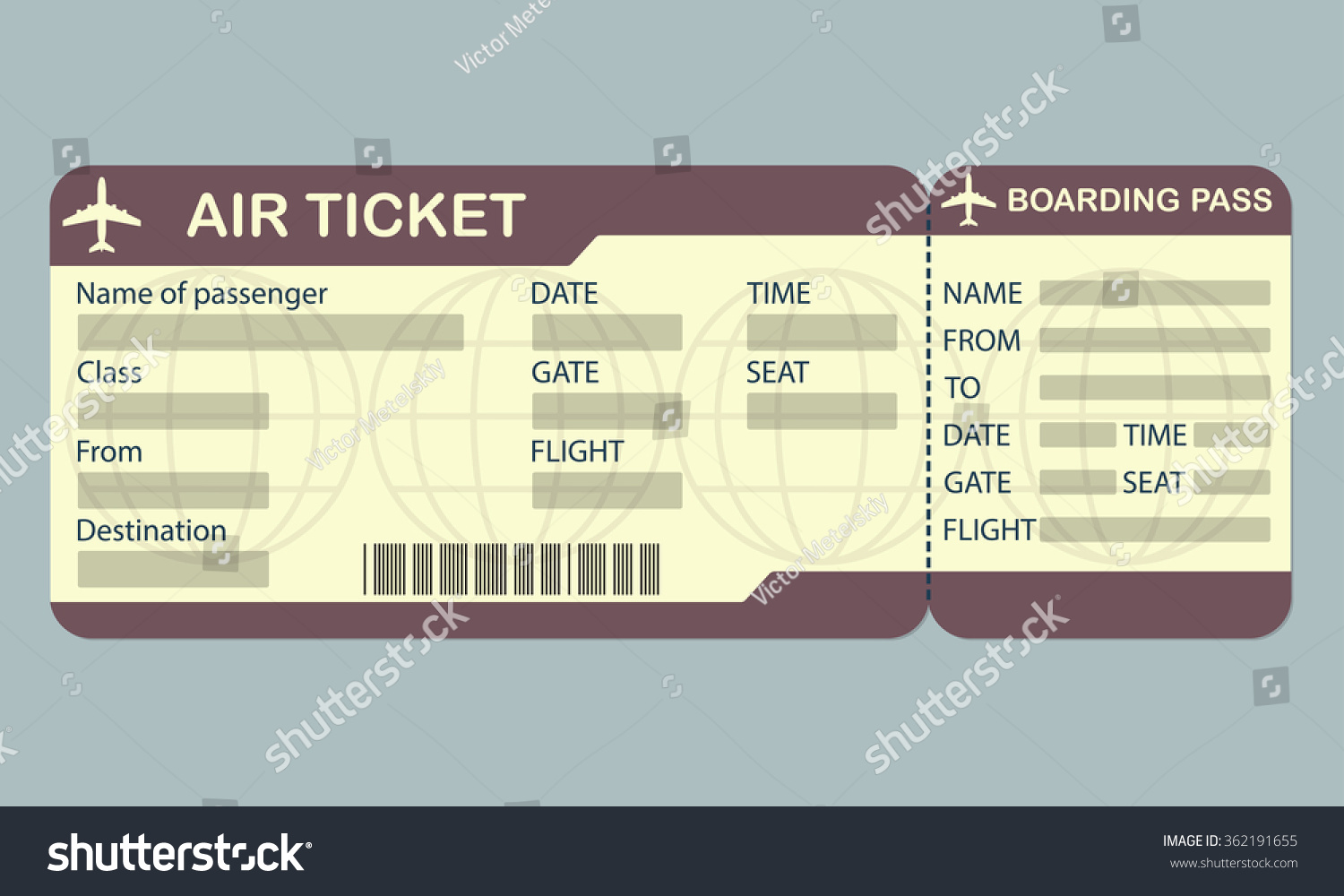 Airline Boarding Pass Ticket Template Detailed Illustration – Plane Ticket Template