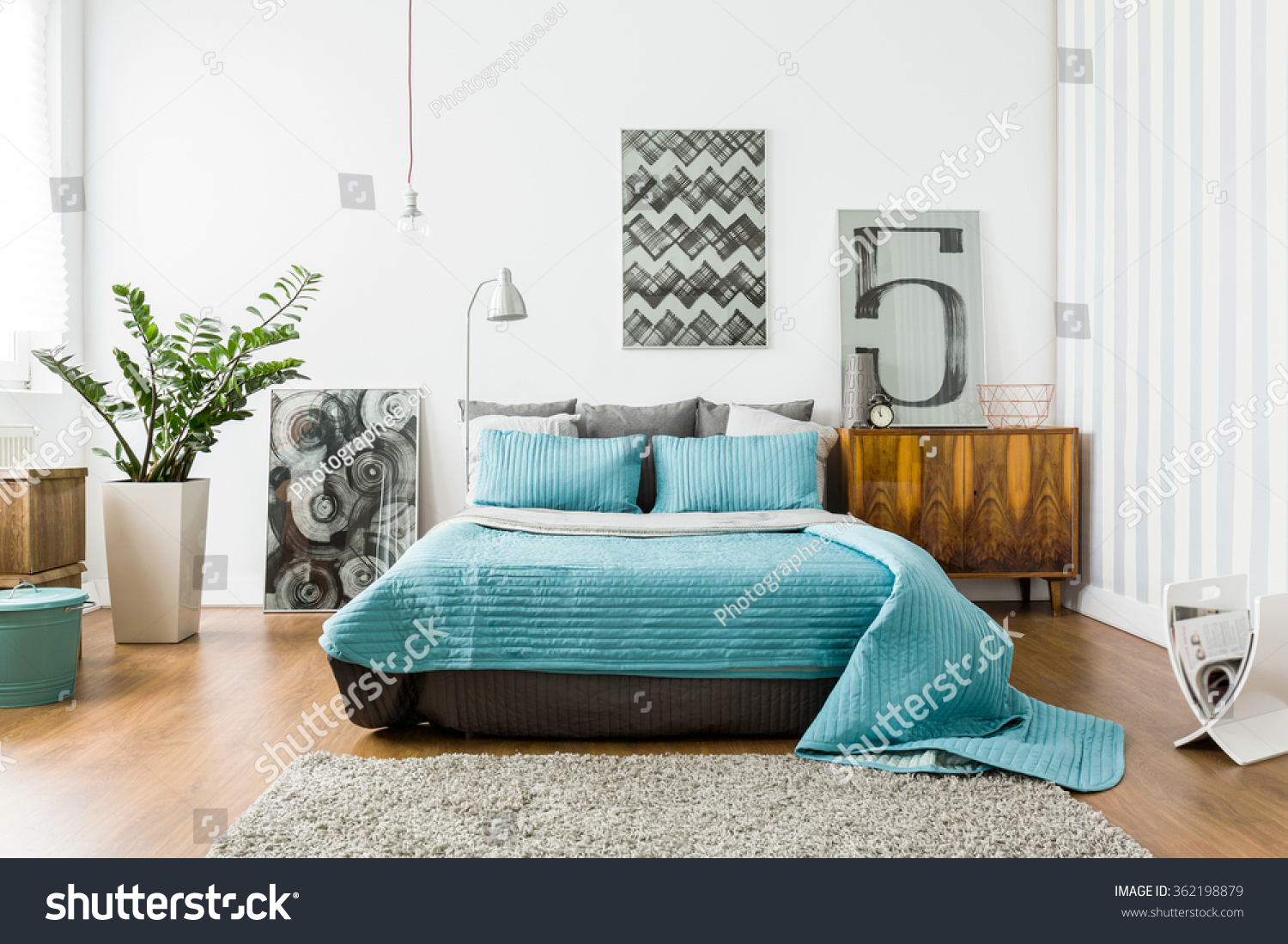 interior cozy bedroom modern design stock photo 362198879 shutterstock. Black Bedroom Furniture Sets. Home Design Ideas