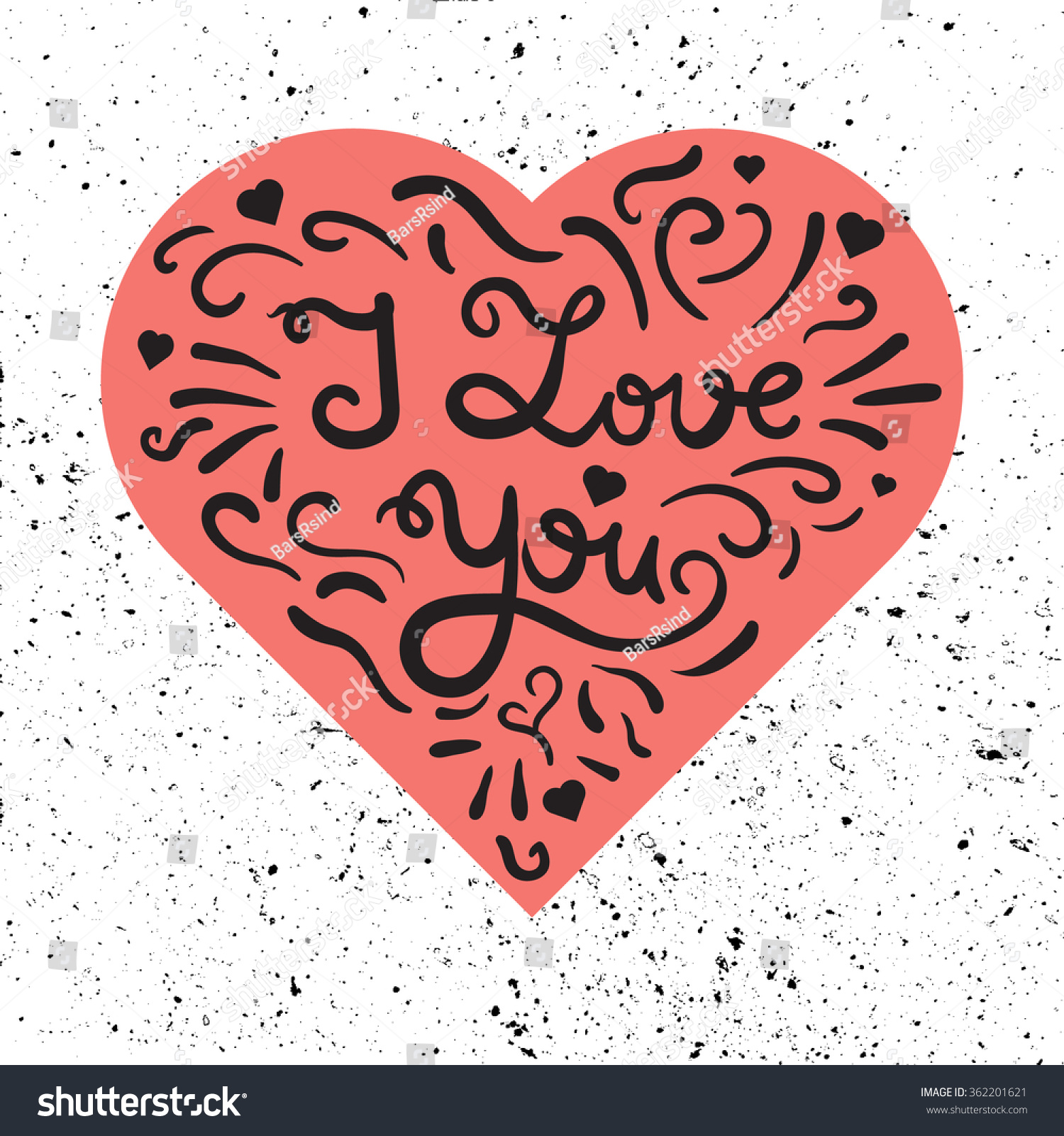 Vintage Heart Lettering Greeting About Love Stock Vector Royalty