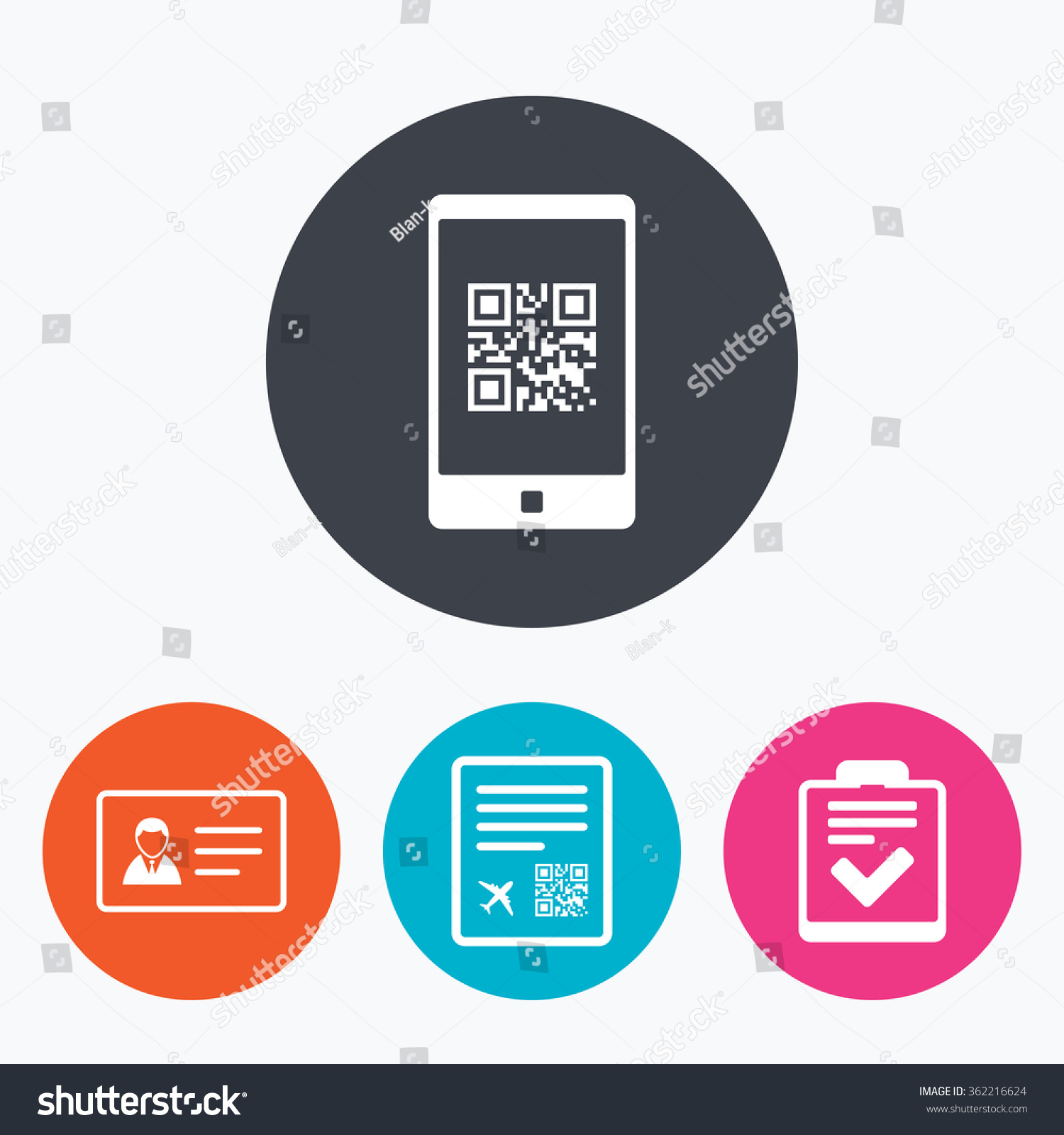 Qr Scan Code Smartphone Icon Boarding Stock Vector Royalty Free