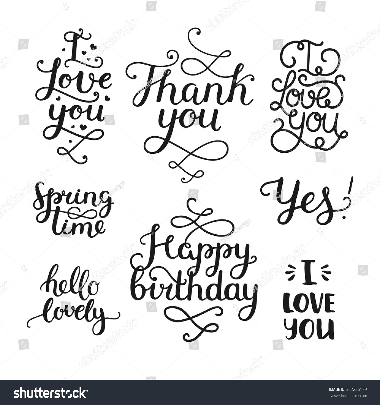 Love You Thank You Quotes Vector Photo Overlays Handdrawn Lettering Collection Stock Vector