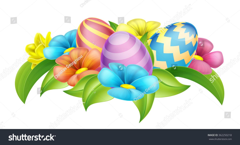 easter eggs spring flowers cartoon design stock vector 362250218