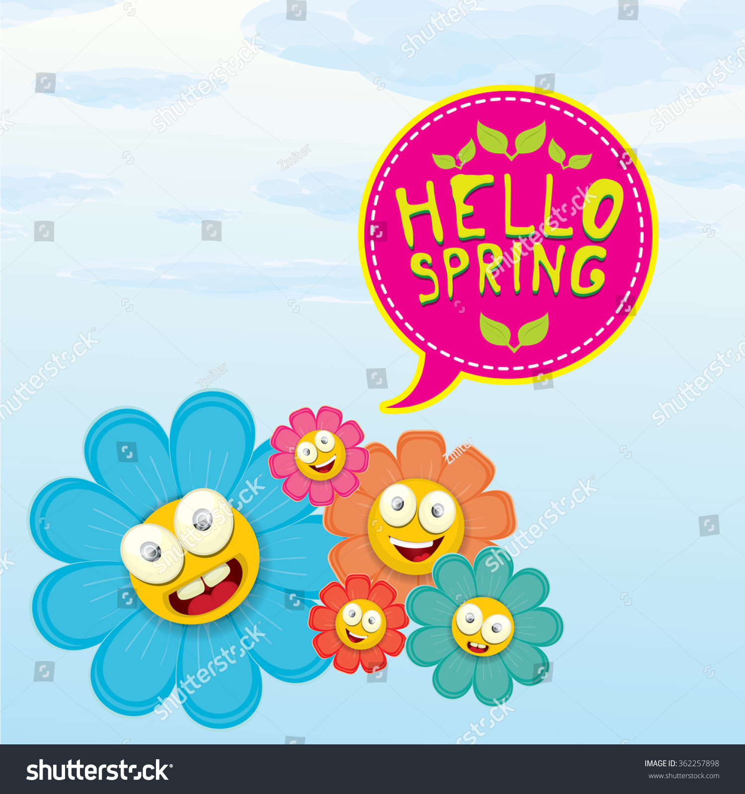 Vector Spring Cartoon Flowers On Orange Background Hello Spring