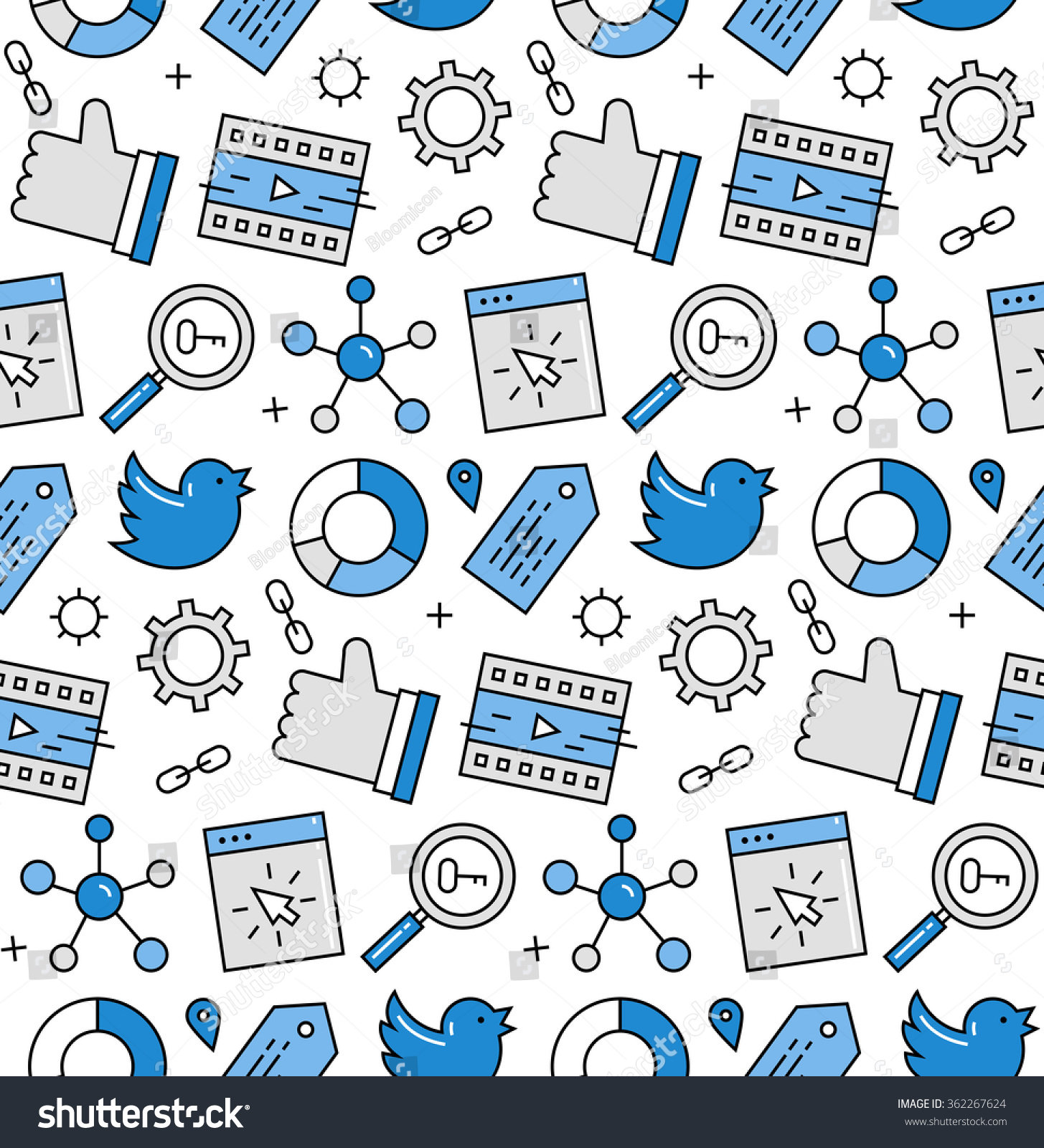 Modern Line Icons Seamless Pattern Texture Of Social Media ...