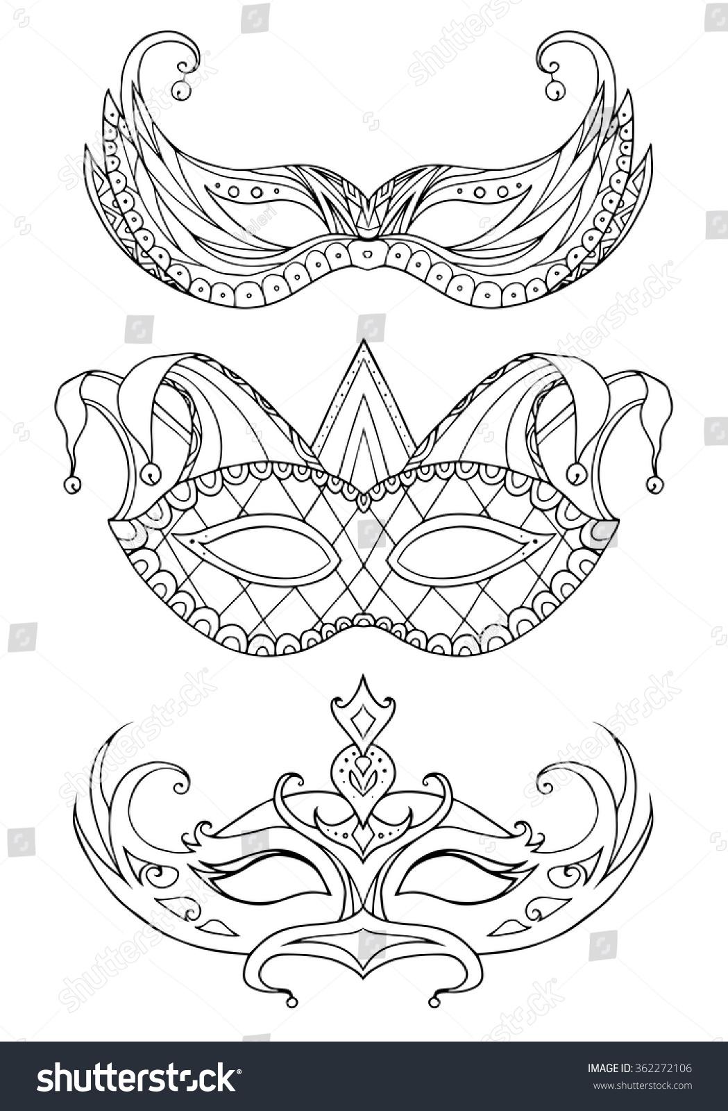 set handdrawn doodle face masks festival stock vector 362272106