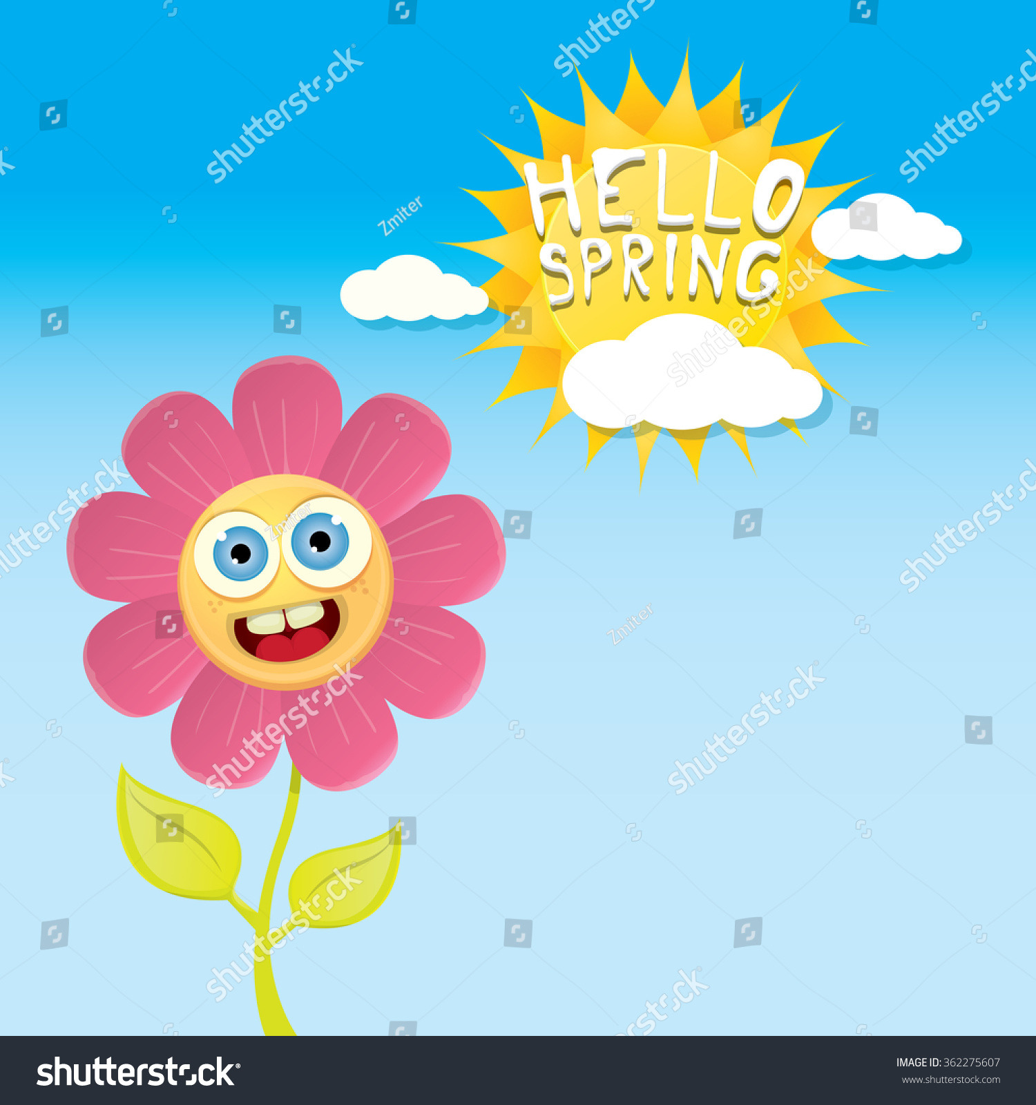 Vector Spring Cartoon Flowers On Blue Stock Vector Royalty Free