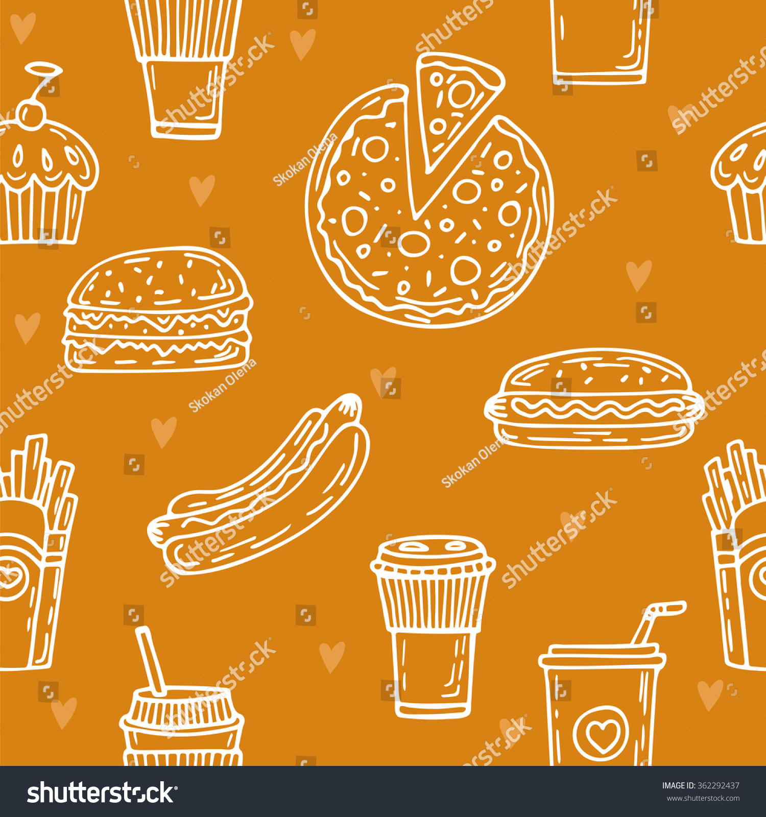 fast food seamless pattern hand drawn stock vector