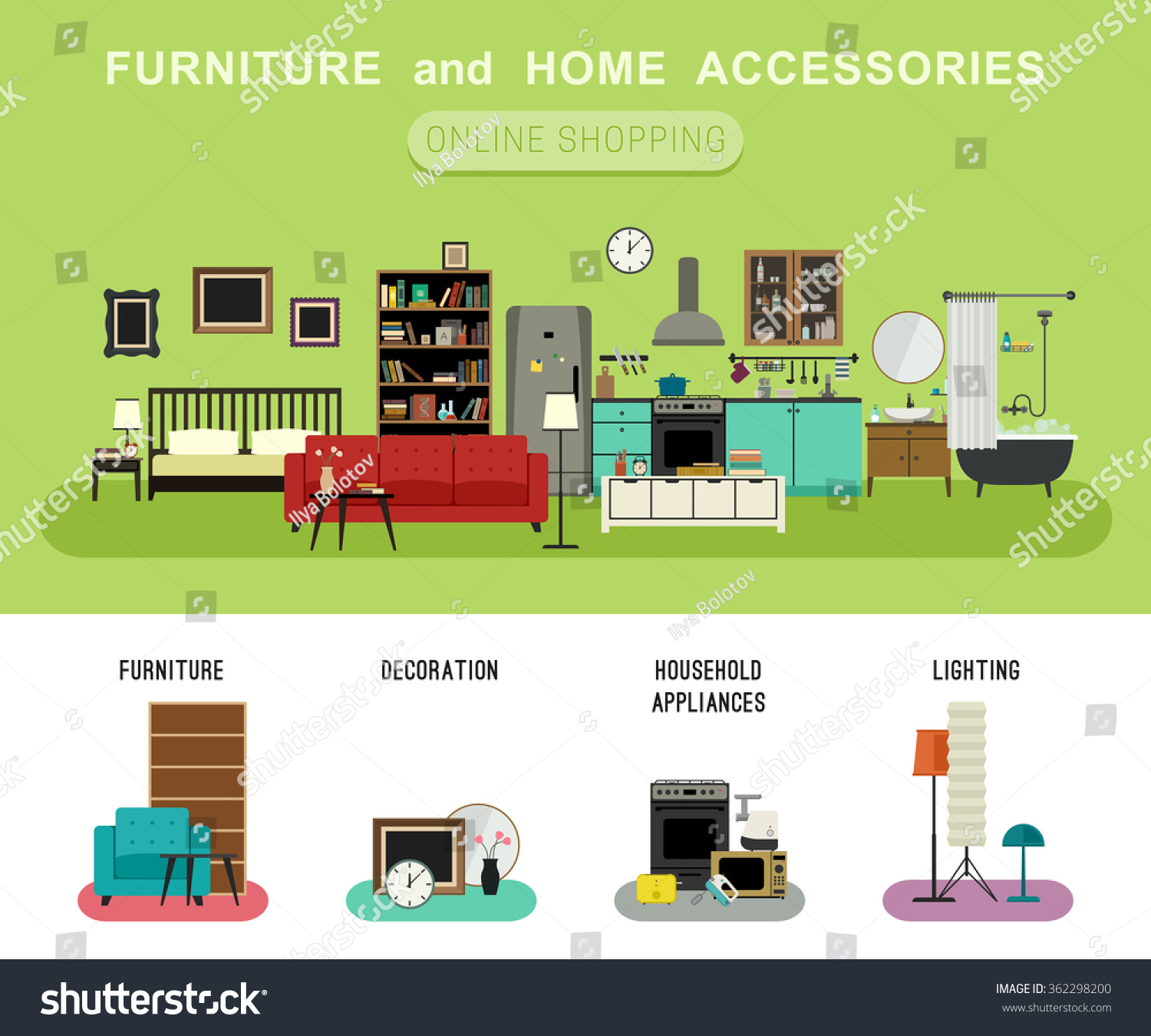 Furniture Home Accessories Banner Vector Flat Stock Vector