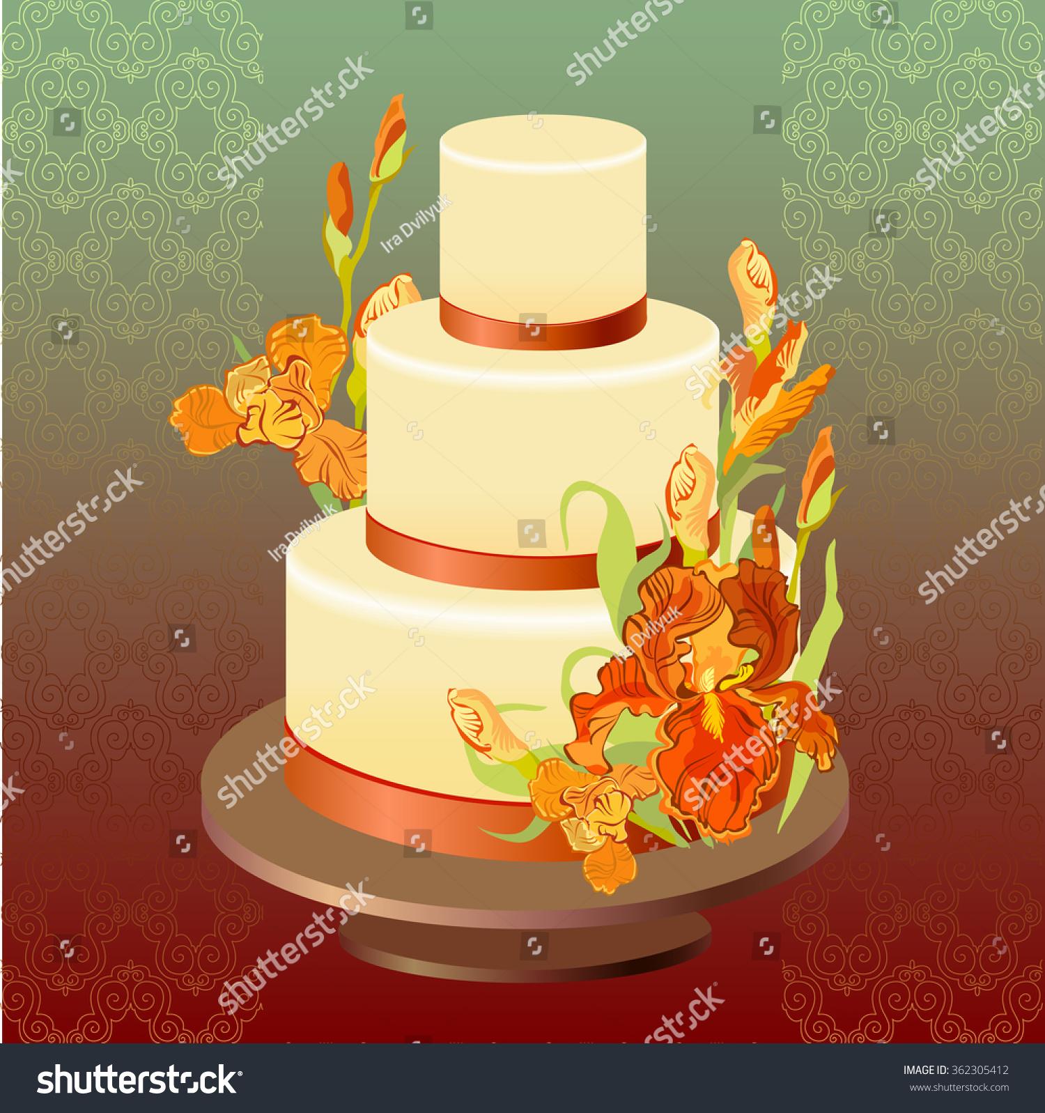 Wedding cake red orange yellow iris stock vector royalty free wedding cake with red orange yellow iris flowers beautiful wedding dessert mightylinksfo