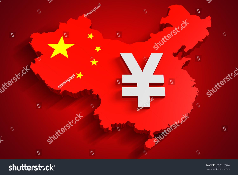 Chinese yuan renminbi symbol on china stock illustration 362310974 chinese yuan renminbi symbol on the china map buycottarizona Gallery
