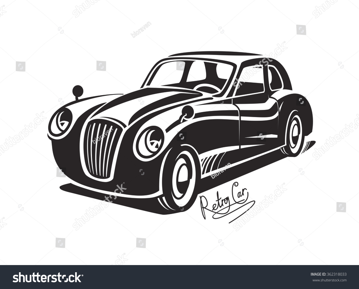 Vector Black Retro Car Vintage Icon Stock Vector