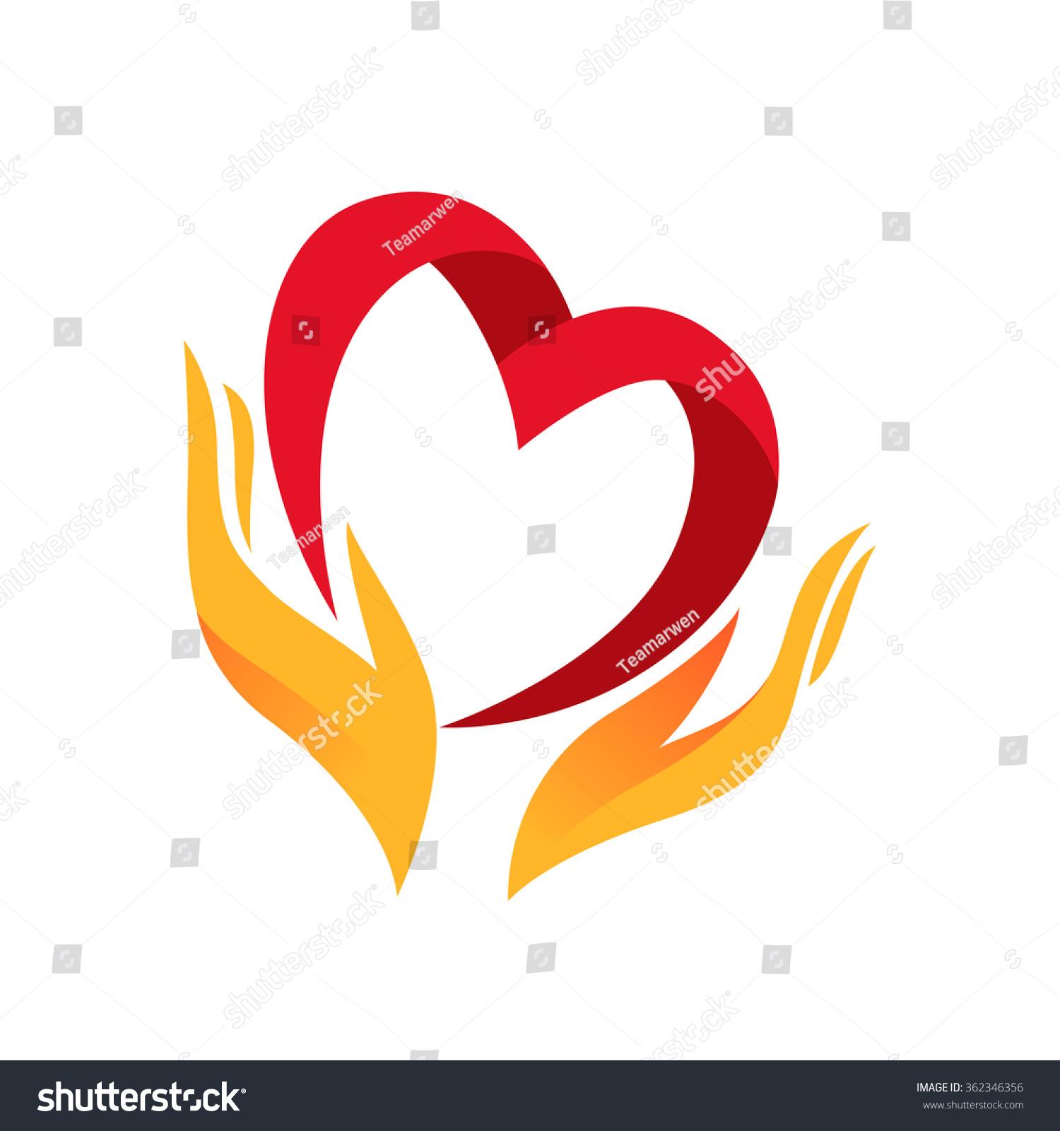 heart hand symbol sign icon logo stock vector 362346356