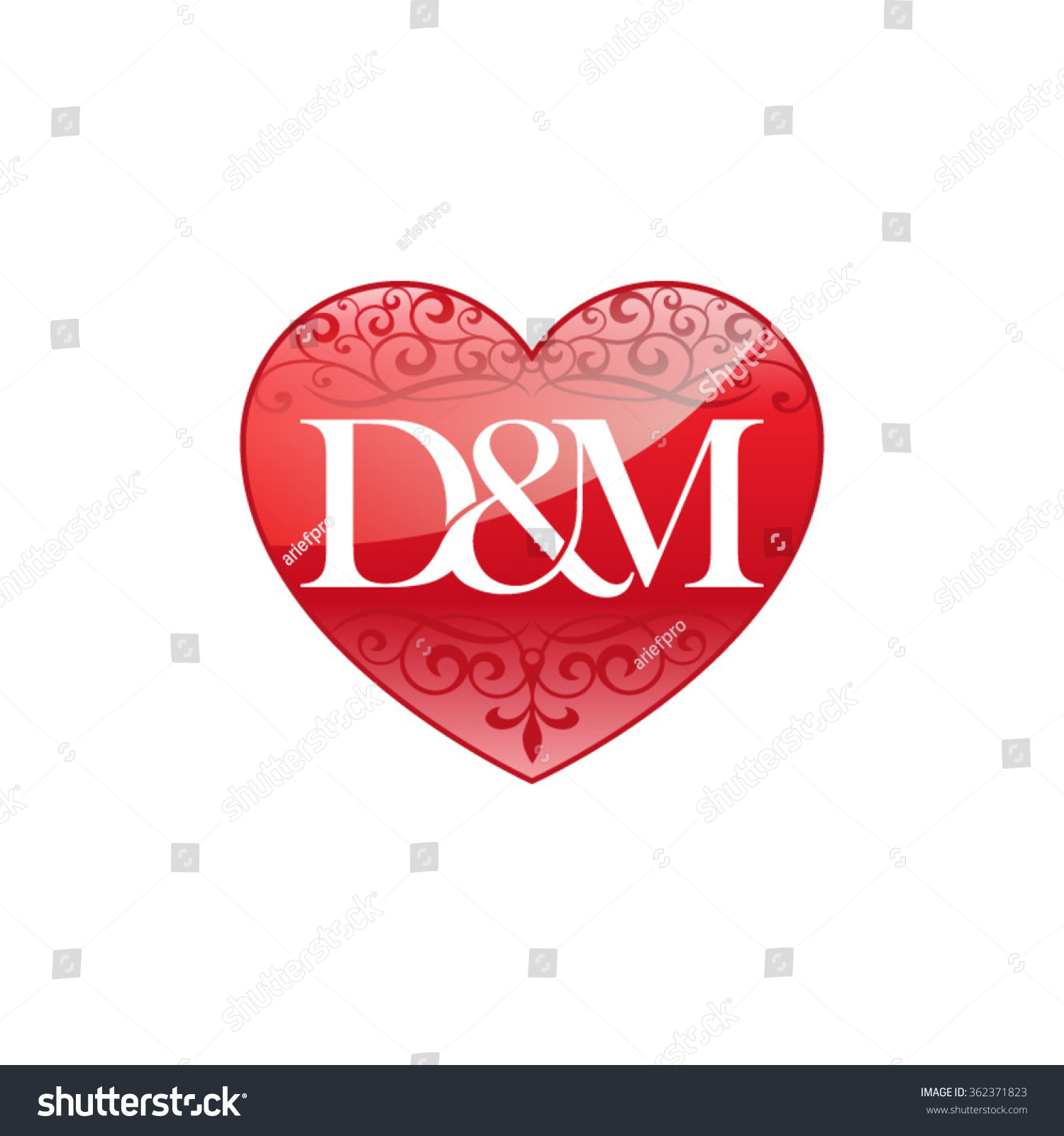 Dm Initial Letter Couple Logo Ornament Stock Vector ...
