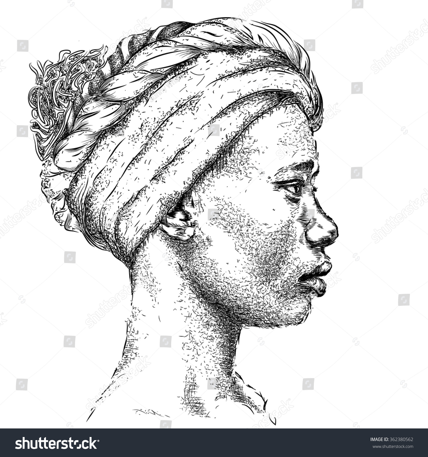 Pretty African American Girl In A Turban Beautiful Black Woman Profile  View Hand