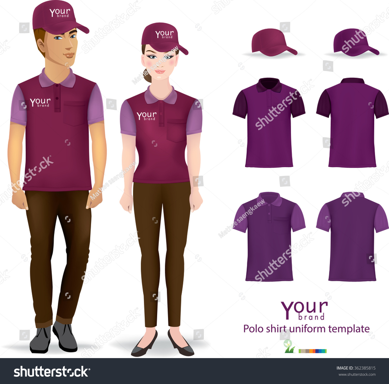 Set Templates Color Polo Shirts Men Stock Vector Royalty Free