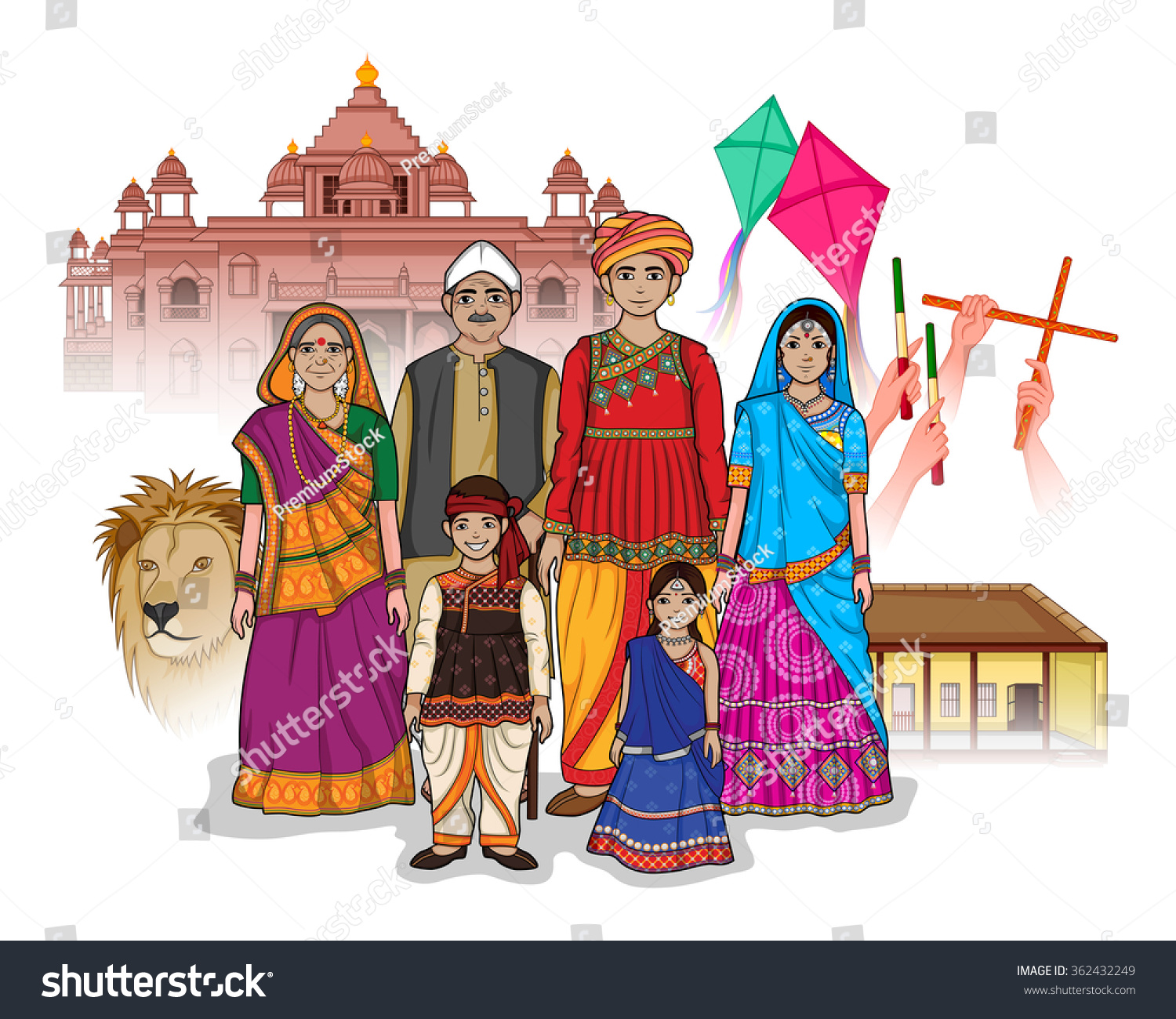Vector Design Gujrati Family Showing Culture Stock Vector