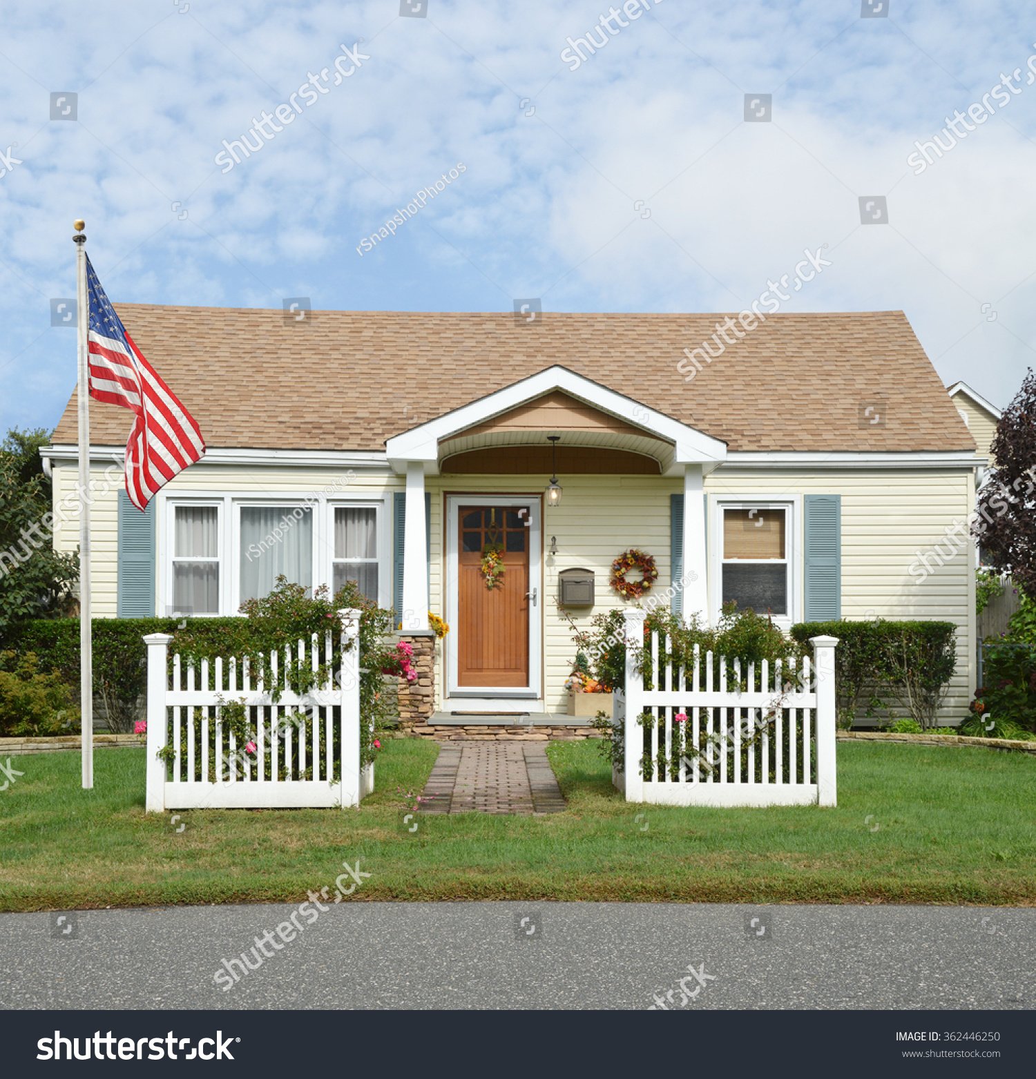 Awesome American Flag Pole Beautiful Suburban Stock Photo 362446250 Home Interior And Landscaping Ferensignezvosmurscom