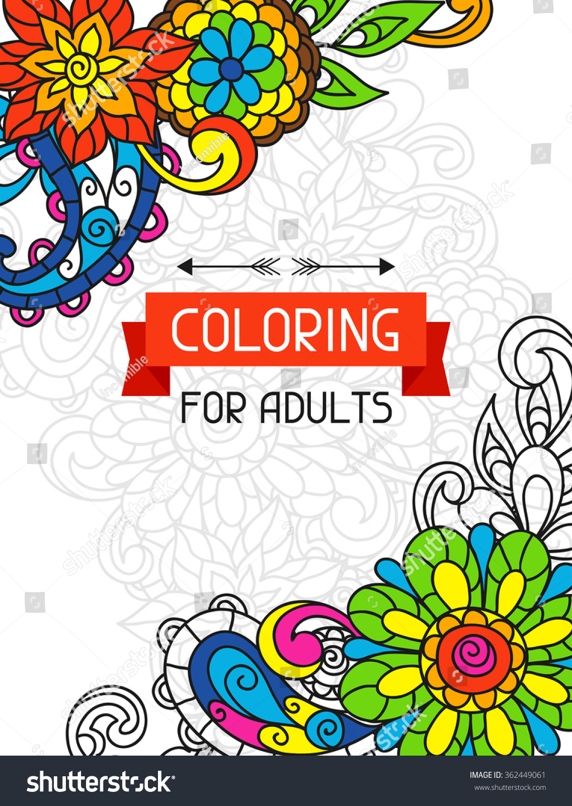 Adult Coloring Book Design For Cover Illustration Of Trend Item To Relieve Stress And Creativity
