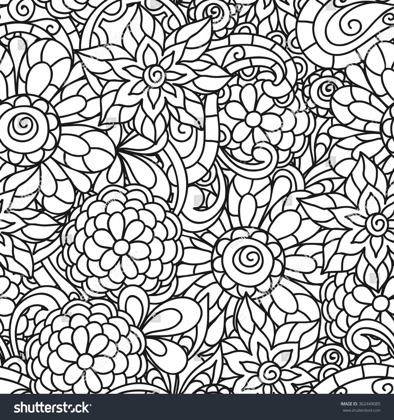 seamless nature pattern line flowers stock vector 362449085