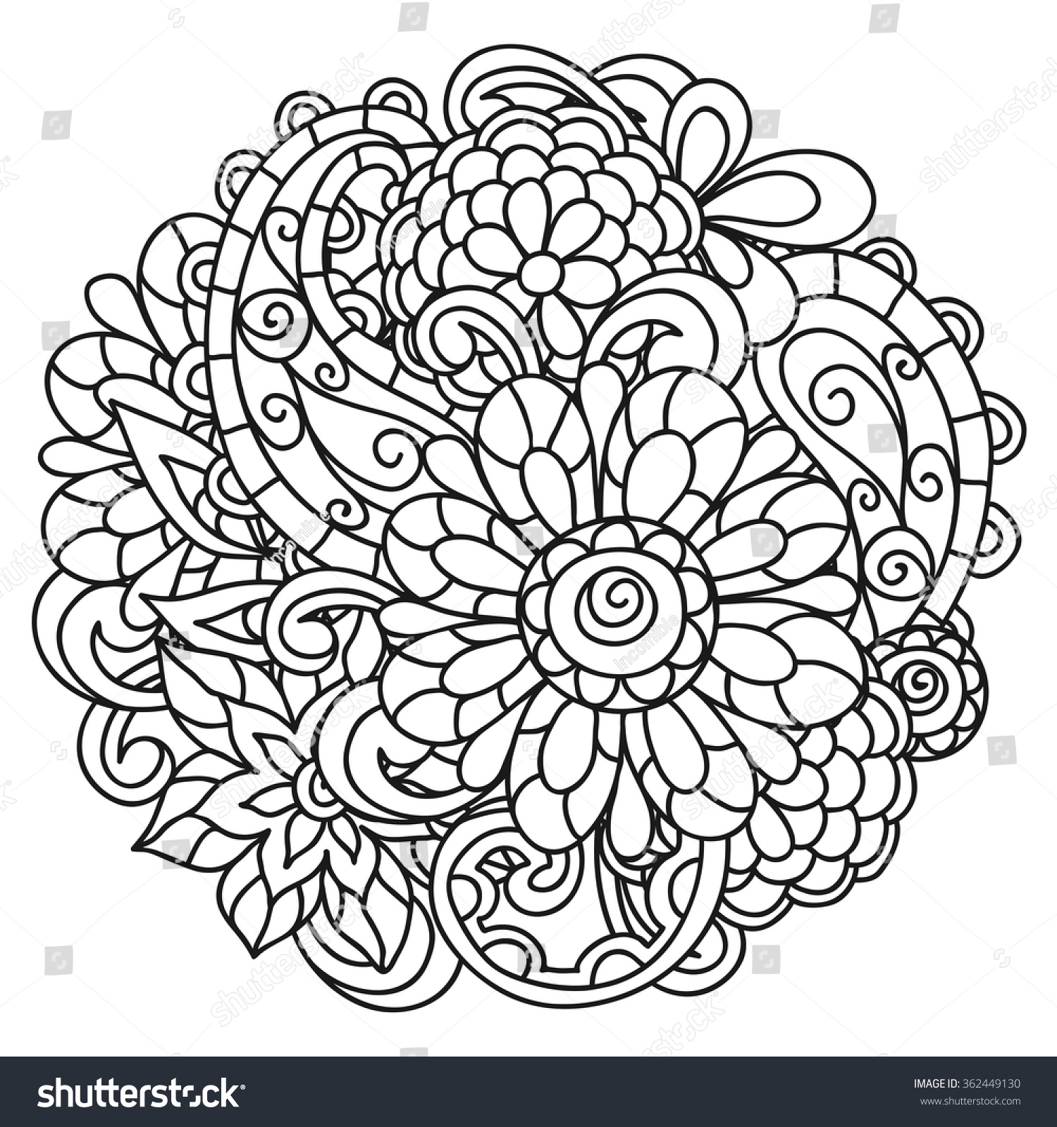background line flowers coloring page stock vector 362449130