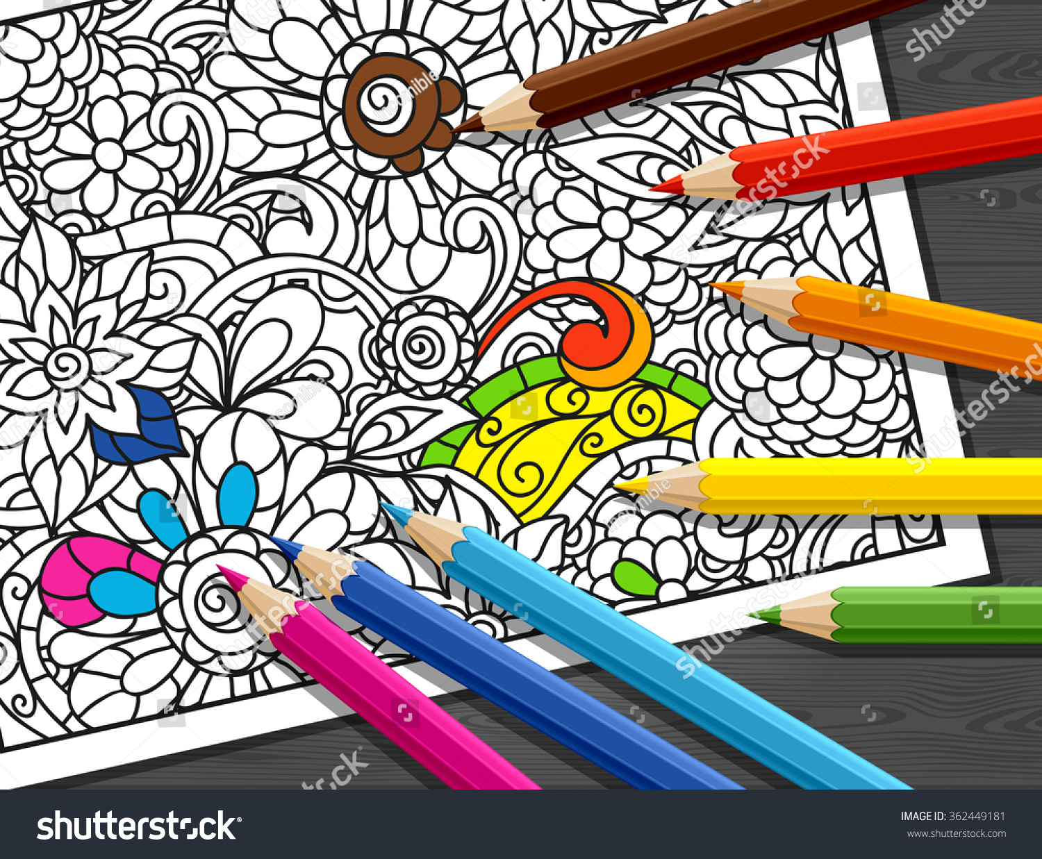 Adult Coloring Concept Pencils Printed Pattern Stock Vector ...