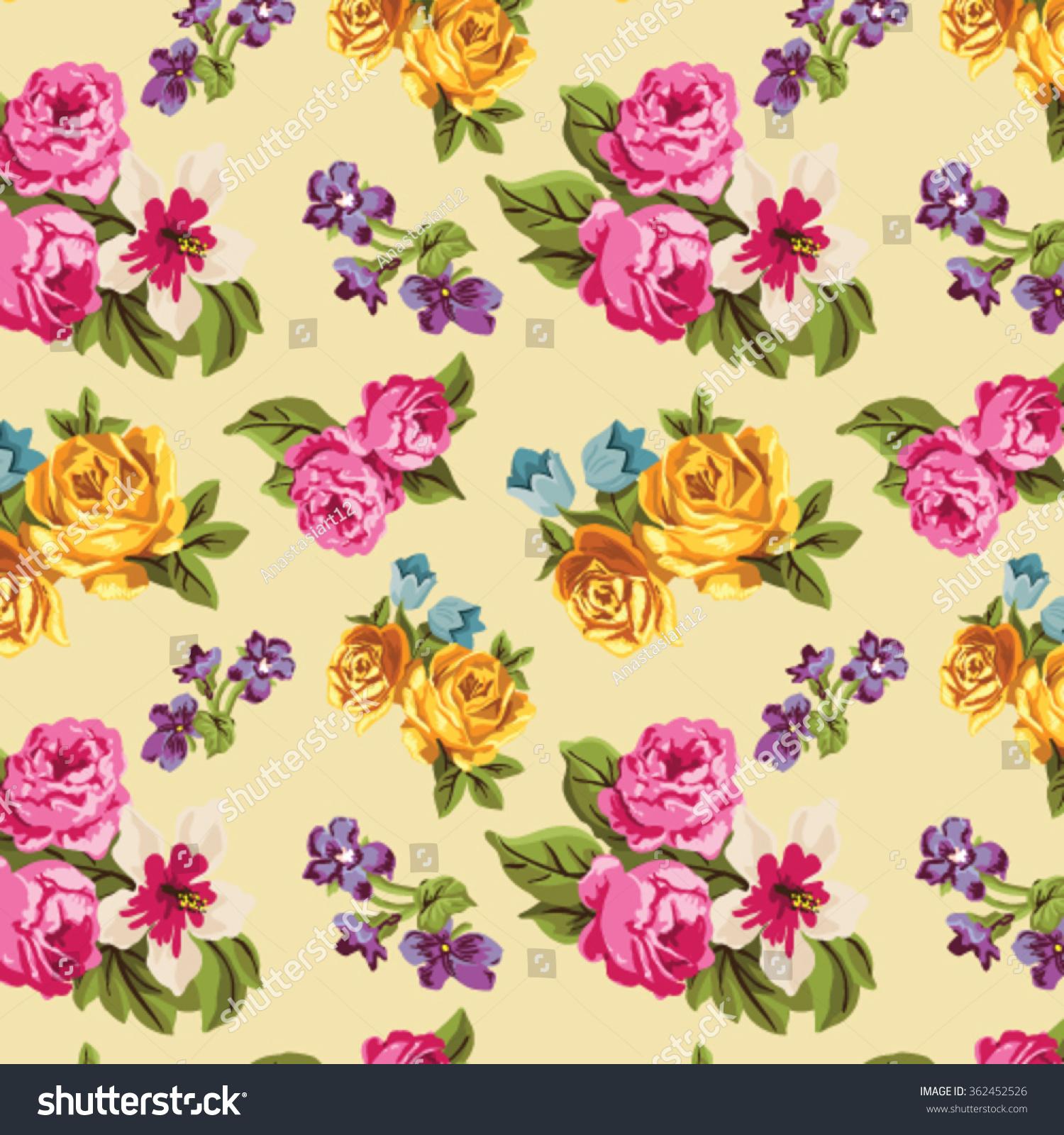 Seamless Retro Floral Wallpaper Stock Vector Royalty Free 362452526