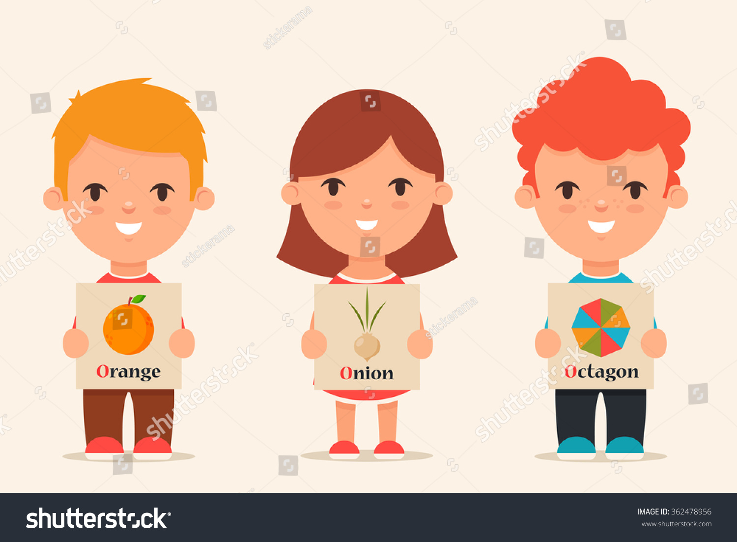 Worksheet Words That Start With O For Kids cute cartoon kids holding pictures words stock vector 362478956 with that start o set