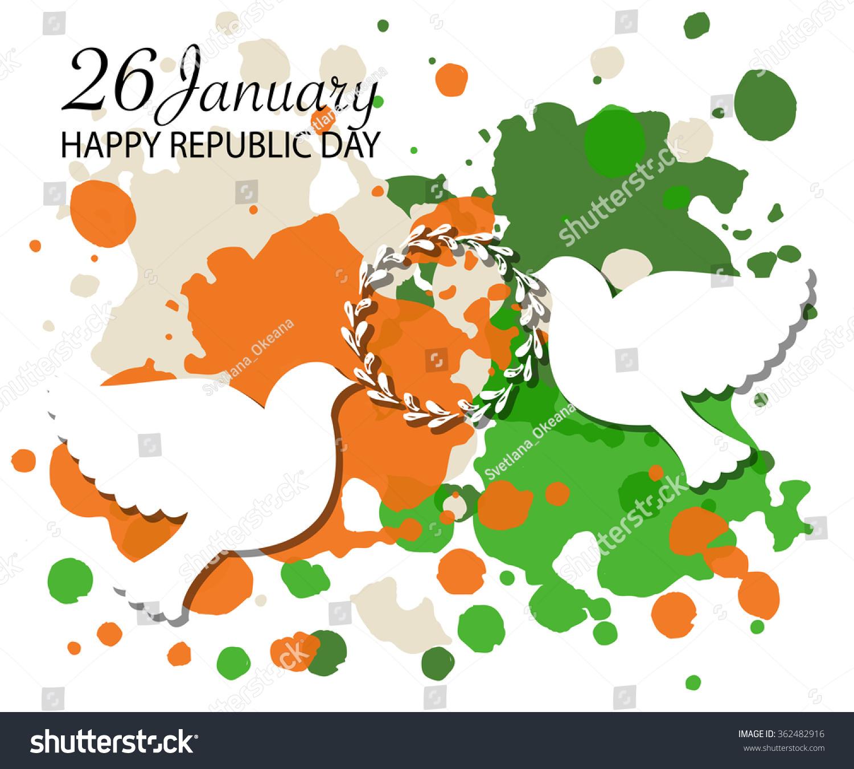 Happy Republic Day India Vector Illustration Signs Symbols