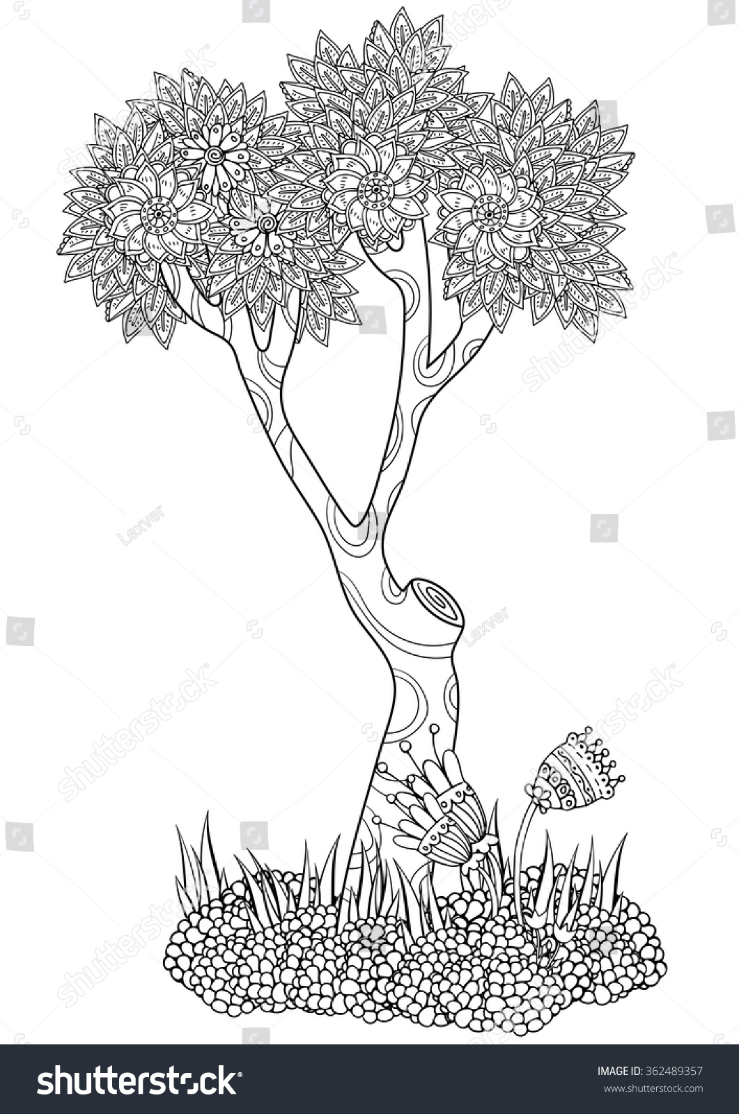 Coloring pages trees and flowers - Isolated Tree With Flowers Coloring Book Page For Adult