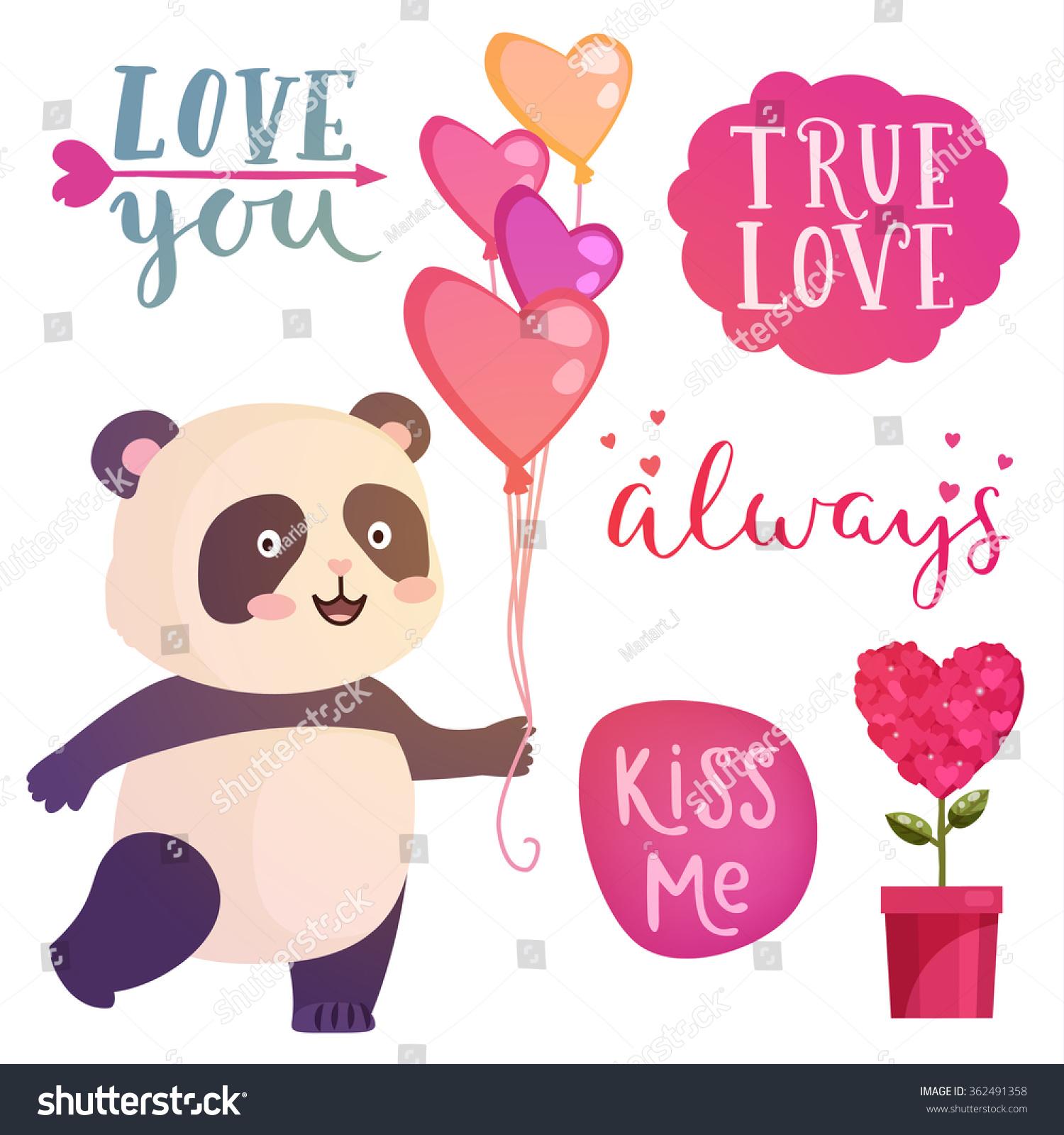 Cute Panda Illustration Lettering Quotes Design Stock