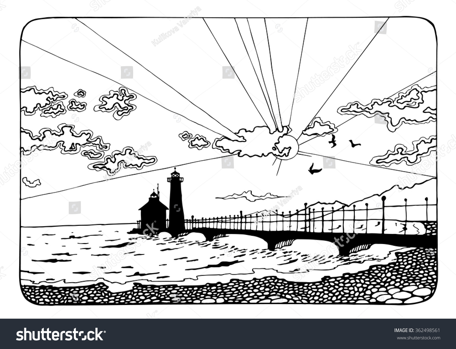 sunset coloring pages for adults - sunset lighthouse coloring page adults antistress stock