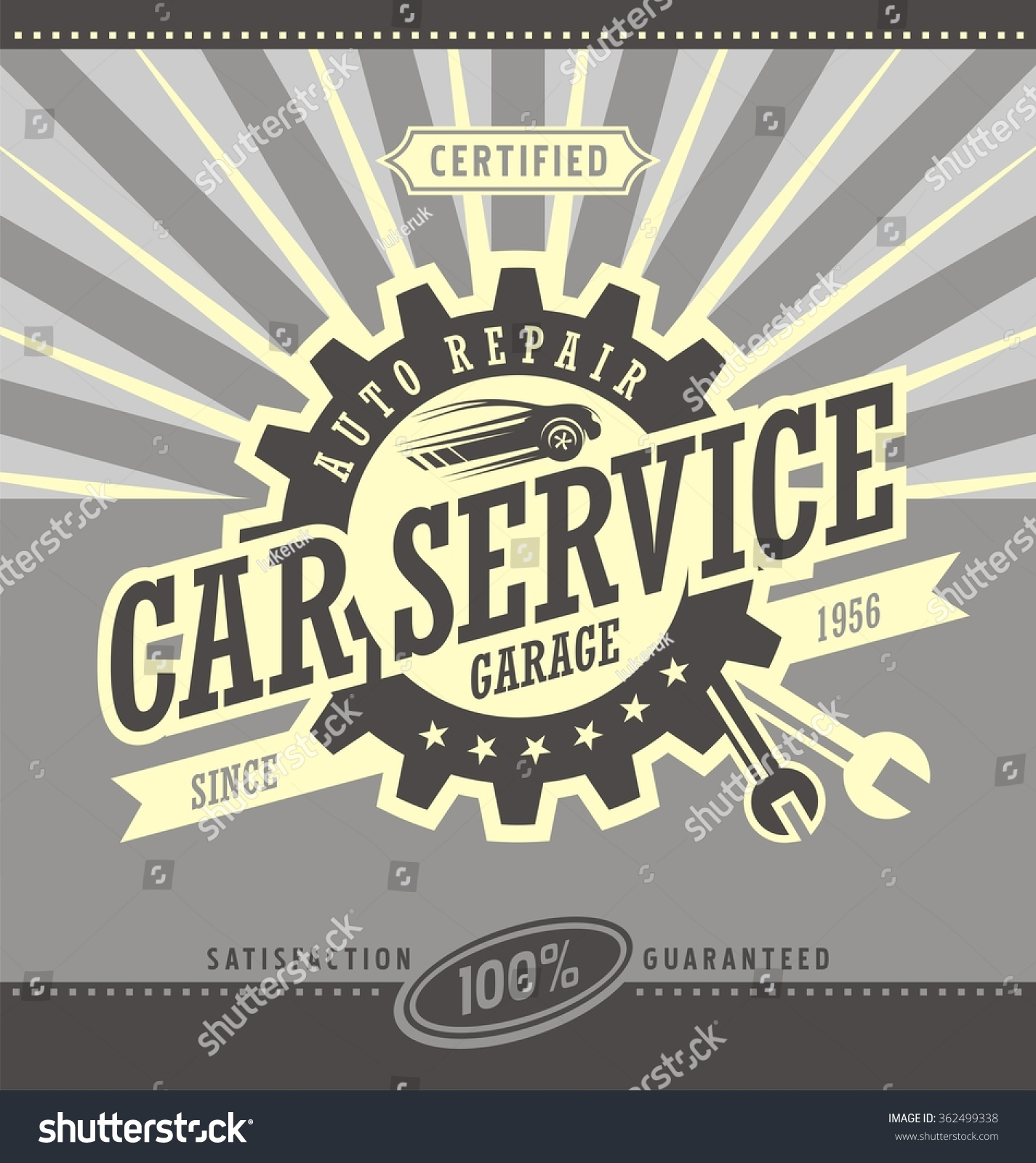 Parts of a poster design - Car Service Retro Banner Design Concept Vintage Garage And Auto Parts Poster Car Side
