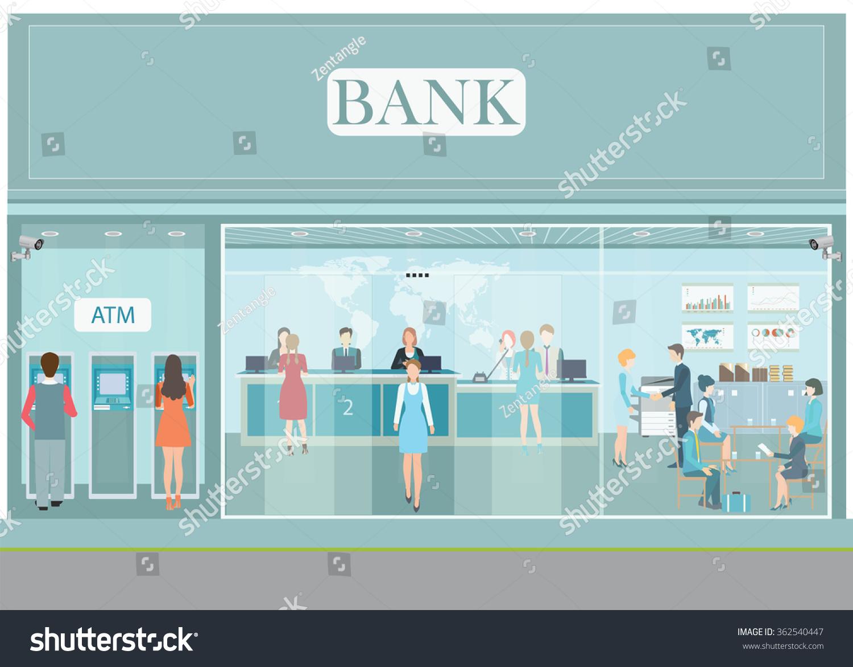 Bank Building Exterior Interior Counter Desk Stock Vector
