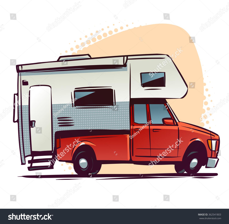Pickup Truck Rv Trailer Side View Stock Vector 362541803