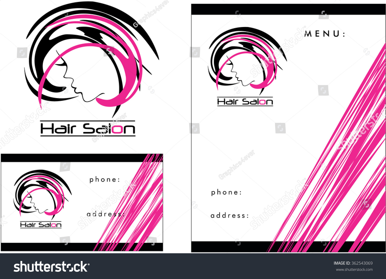 beauty salon logo business card flyer stock vector  beauty salon logo business card flyer design