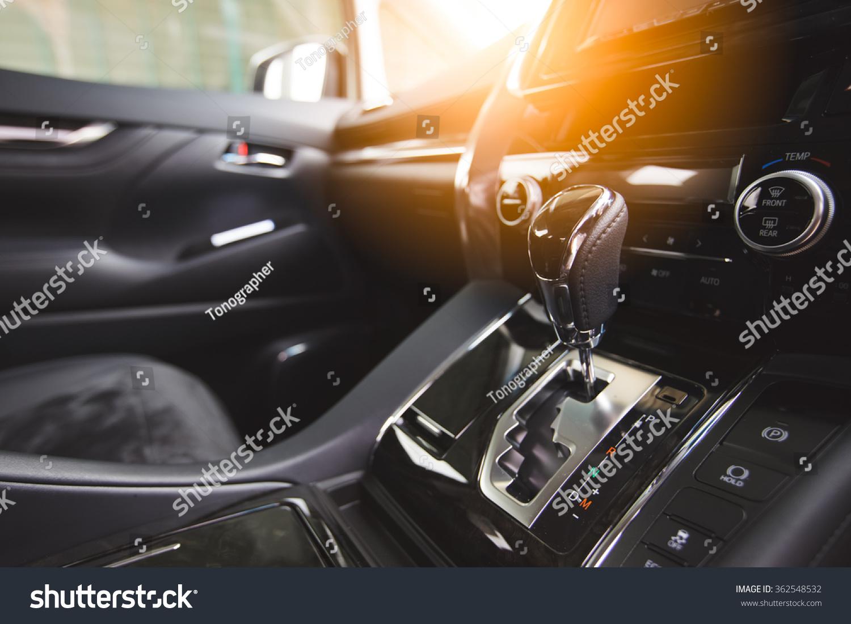 detail of new modern car interior focus on gear stock photo 362548532 shutterstock. Black Bedroom Furniture Sets. Home Design Ideas