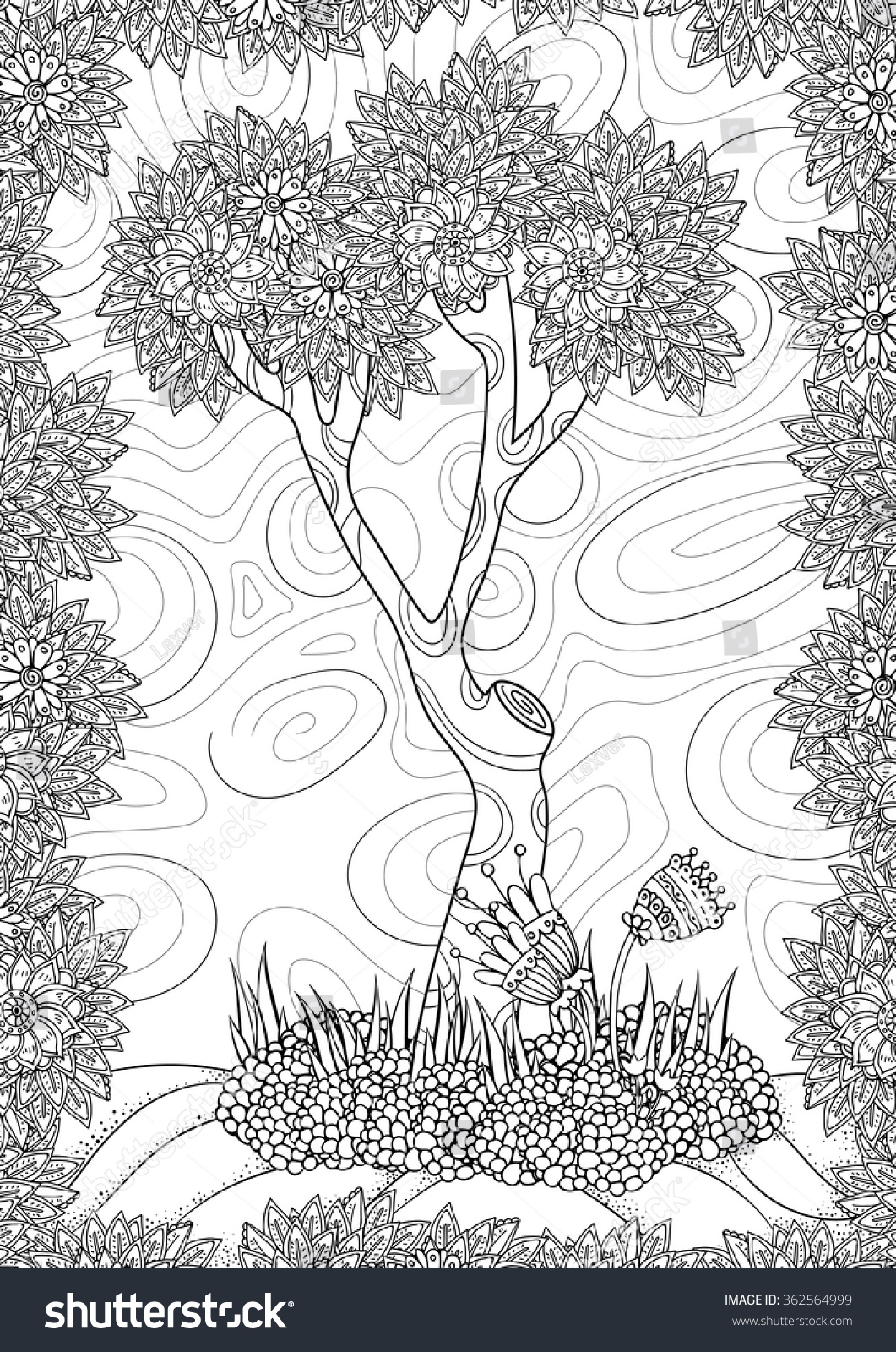 Coloring pages for adults landscapes - Landscape With Tree And Flowers Coloring Book Page For Adult A4