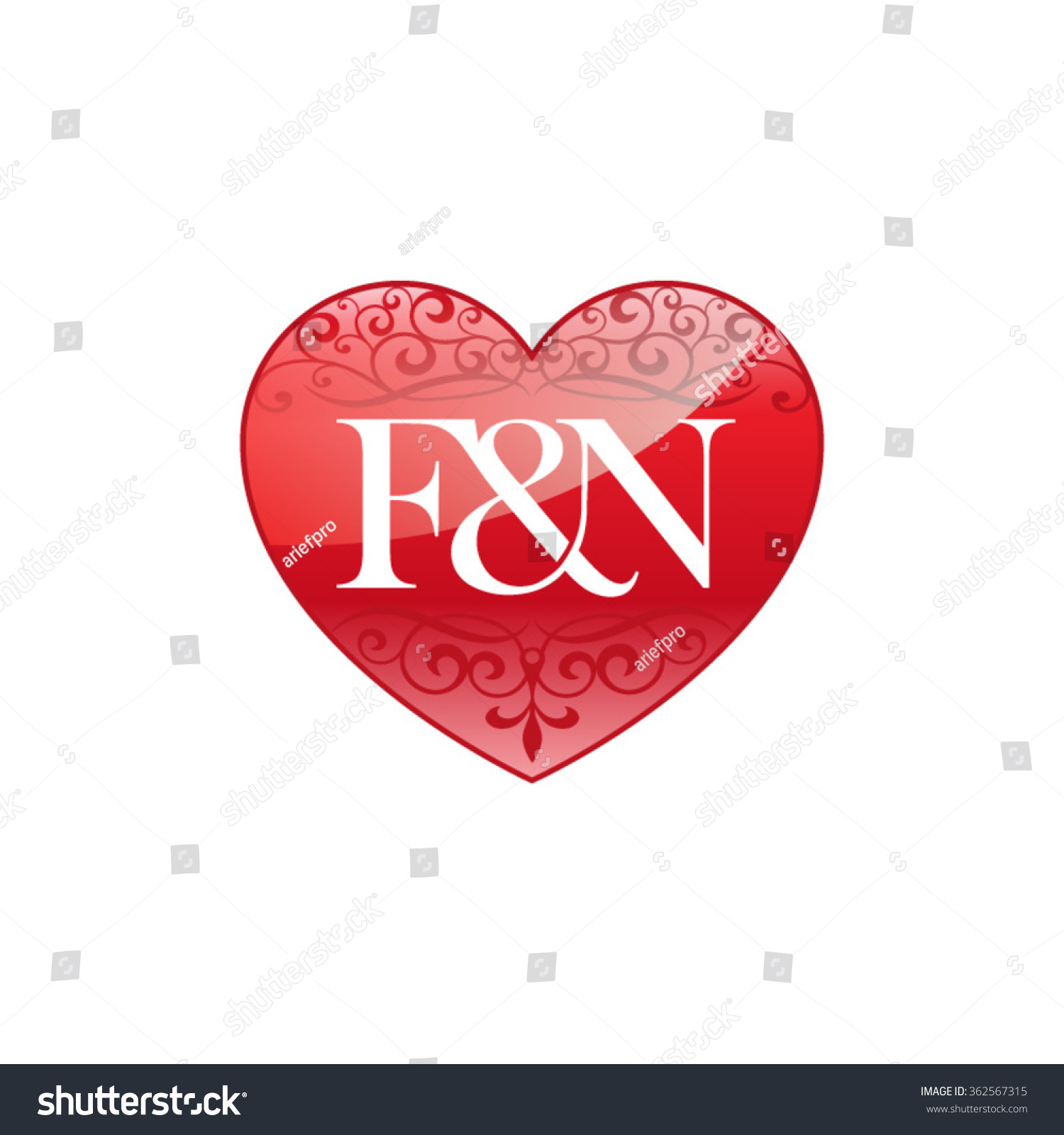 Fn initial letter couple logo ornament stock vector 362567315 fn initial letter couple logo with ornament heart shape thecheapjerseys Choice Image