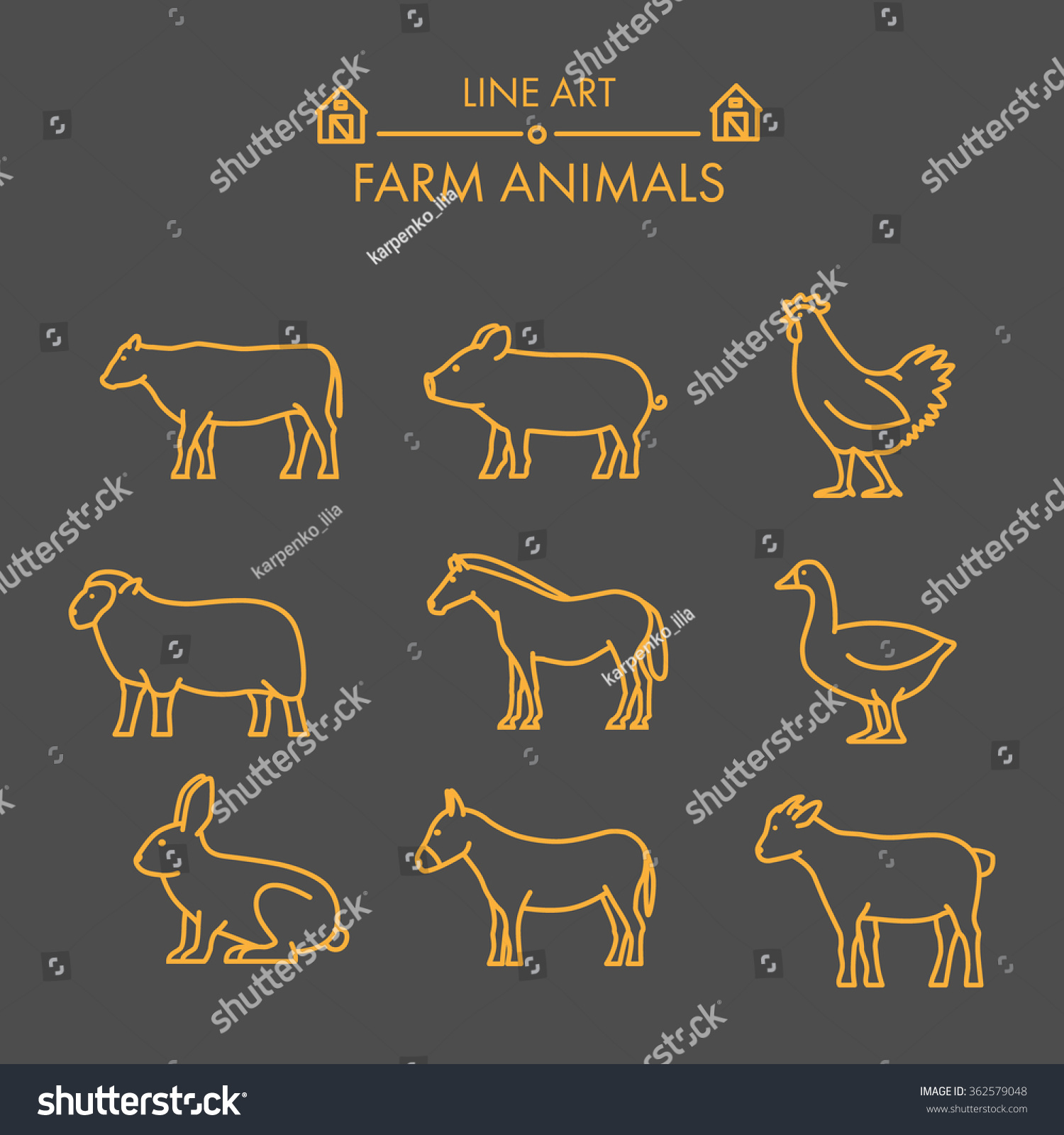 Vector line farm animals icon set Linear figure cow pig chicken horse rabbit goat donkey and sheep