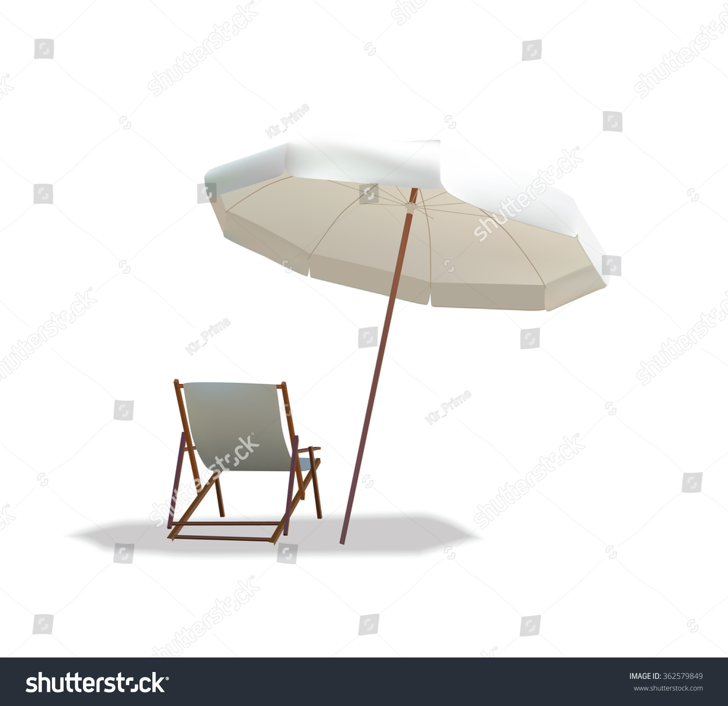 Beach Chair Umbrella Isolated White Stock Vector